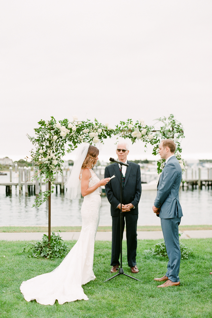 Bride and Groom Exchanging Wedding Vows at Gurneys Star Island