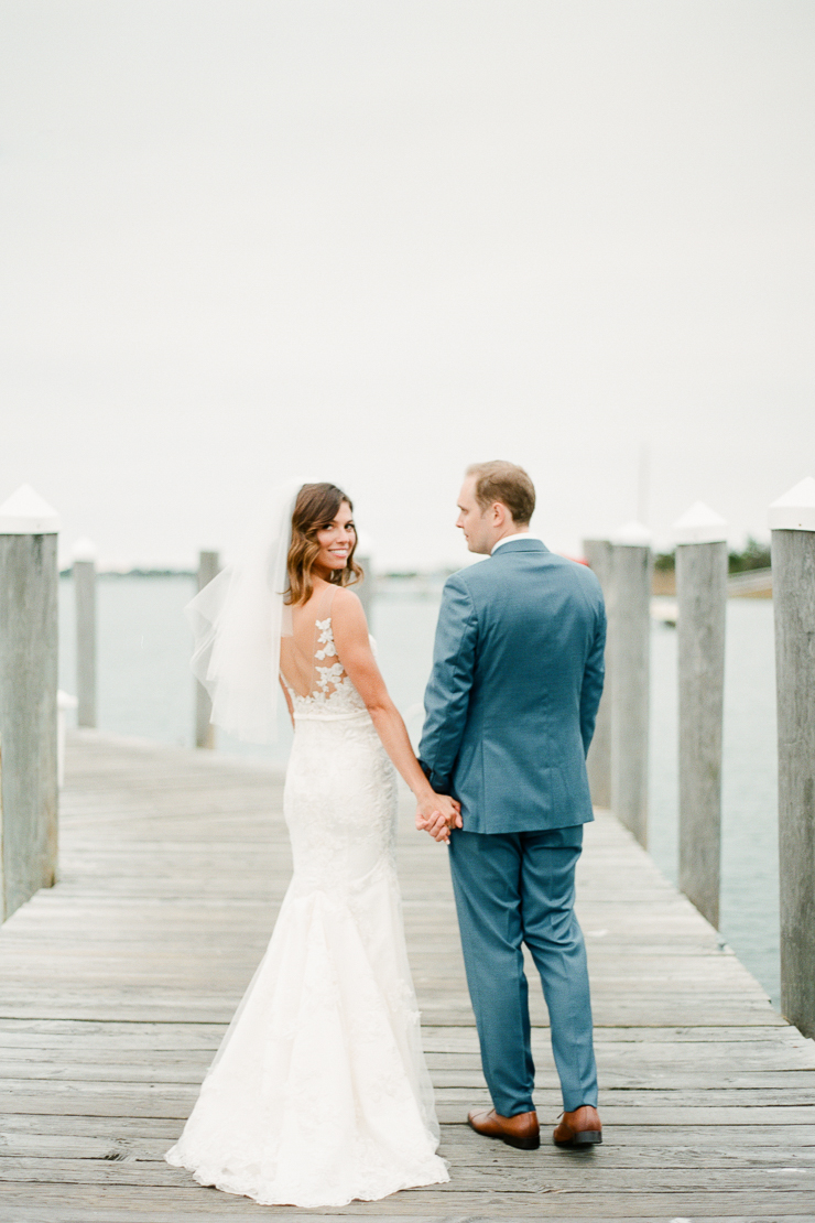 Bride and Groom Photos on Docks at Gurneys Montauk Star Island Resort