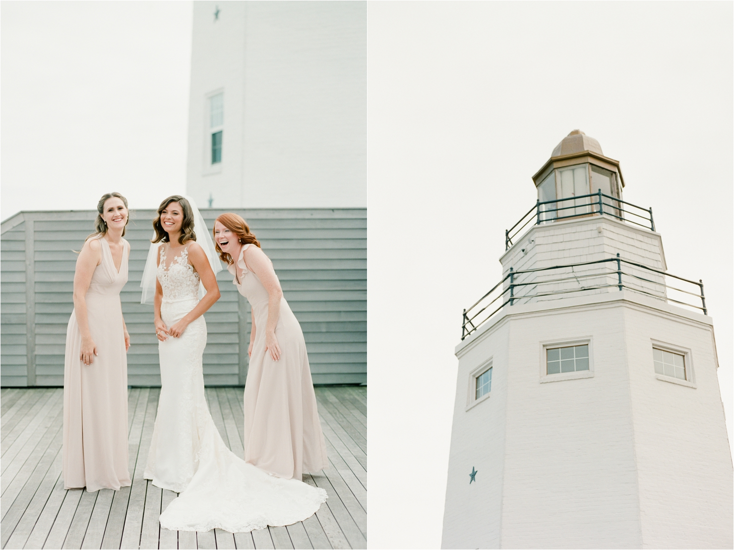 Bride and Bridesmaids Getting Ready Together Gurneys Star Island Wedding Photos