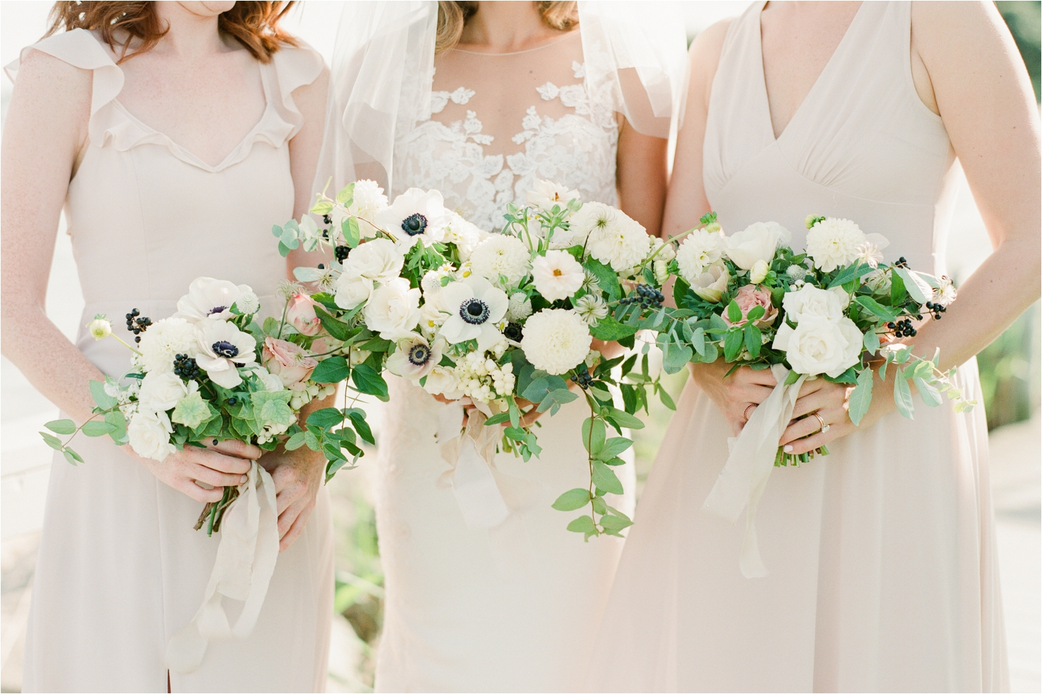 Bride and Bridesmaids Bouquets by Ava Floral Design Gurneys Star Island Wedding Photos