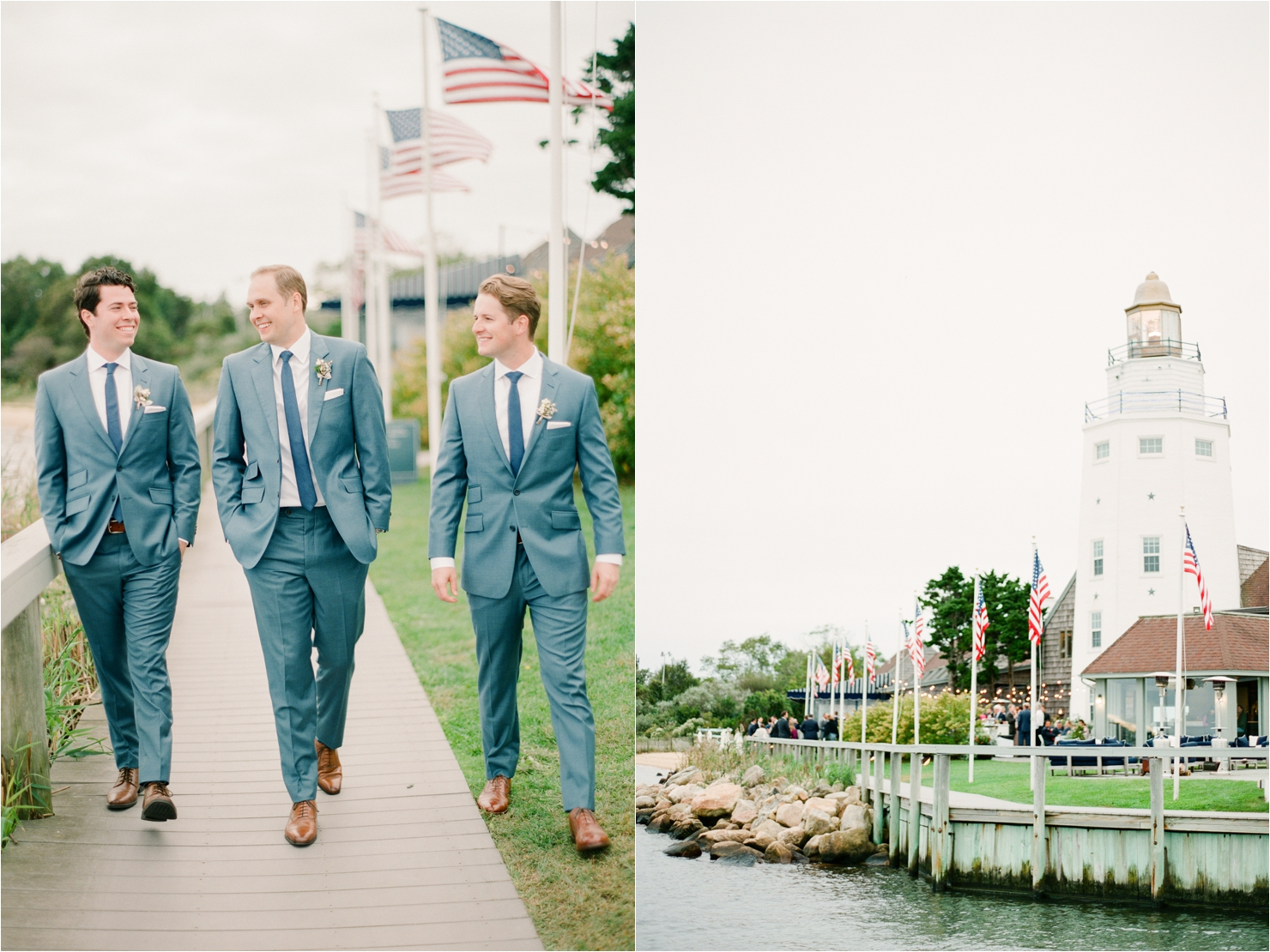 Groom and Groomsmen Walking on Dock Gurneys Star Island Wedding Photos