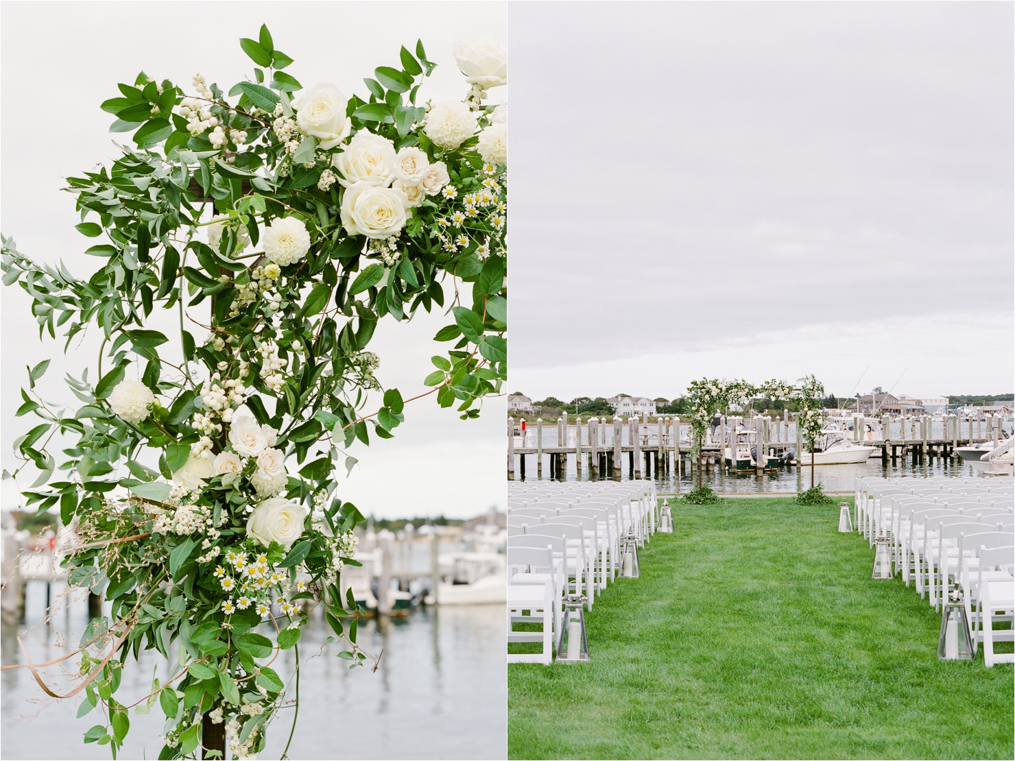 Green and White Floral Arch by AvaFloral Gurneys Star Island Wedding Photos