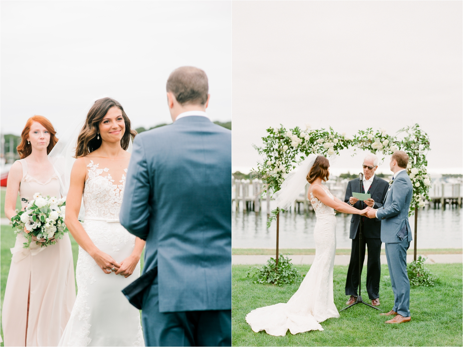 Bride and Groom getting married outside at Gurneys Montauk Start Island Resort
