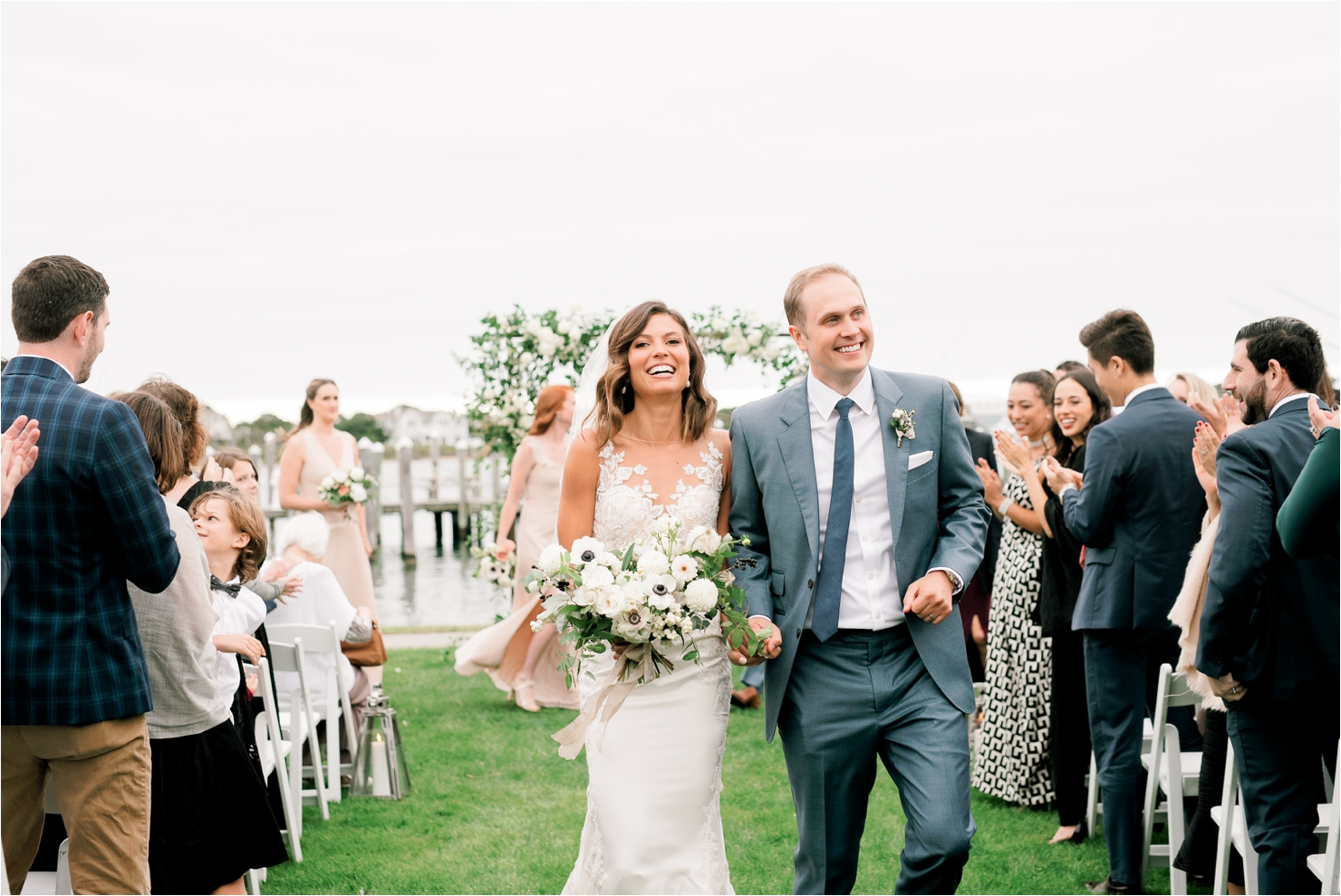 Walking Down Aisle - Just Married at Gurneys Montauk