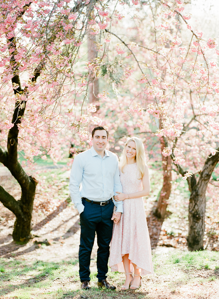 Spring Cherry Blossom Engagement Photos in Central Park NYC