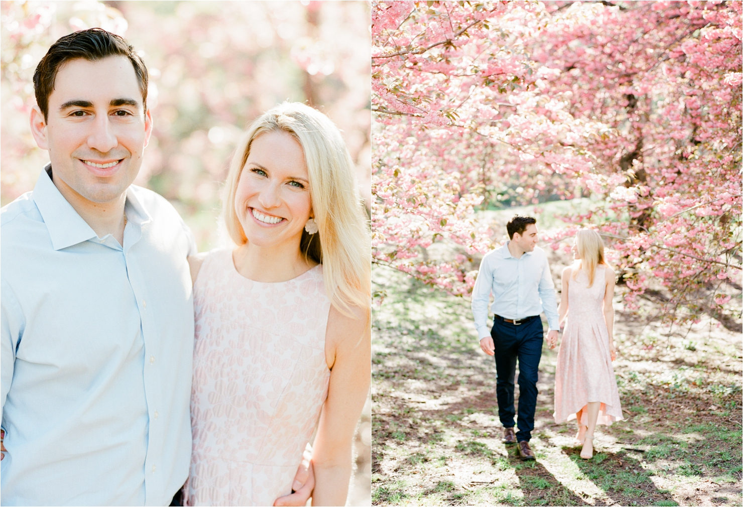 Bride Wearing Pink Dress in front of Cherry Blossoms