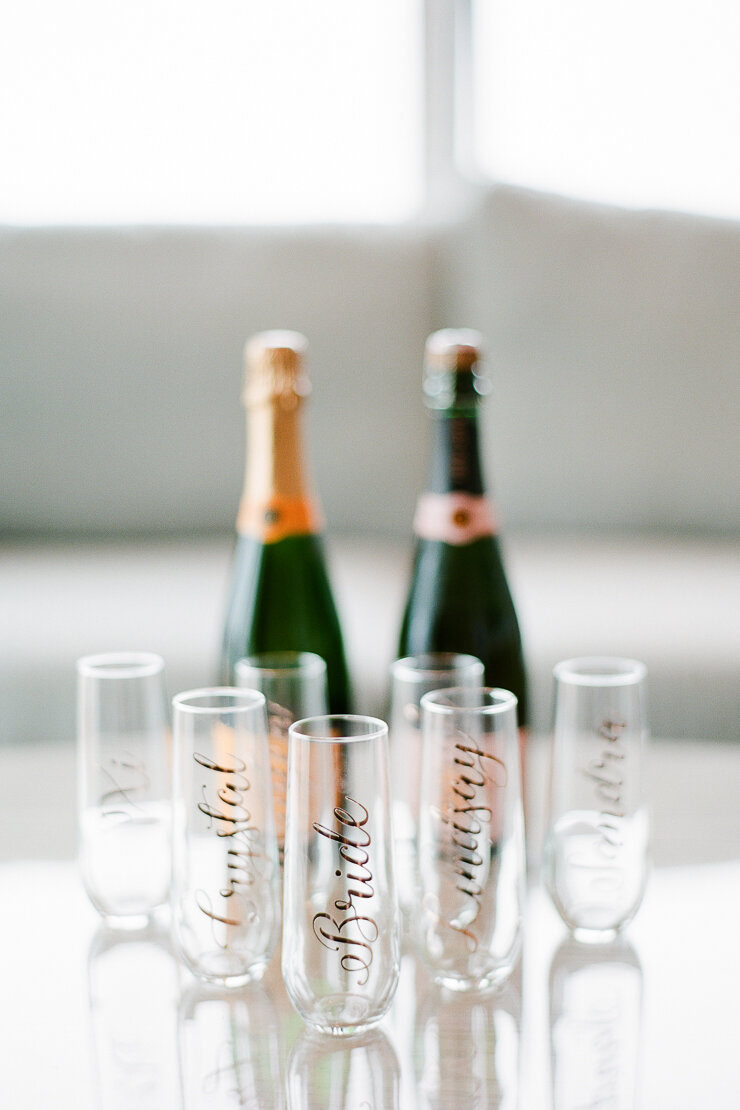 Custom Calligraphy Champagne Flutes for Bridesmaids