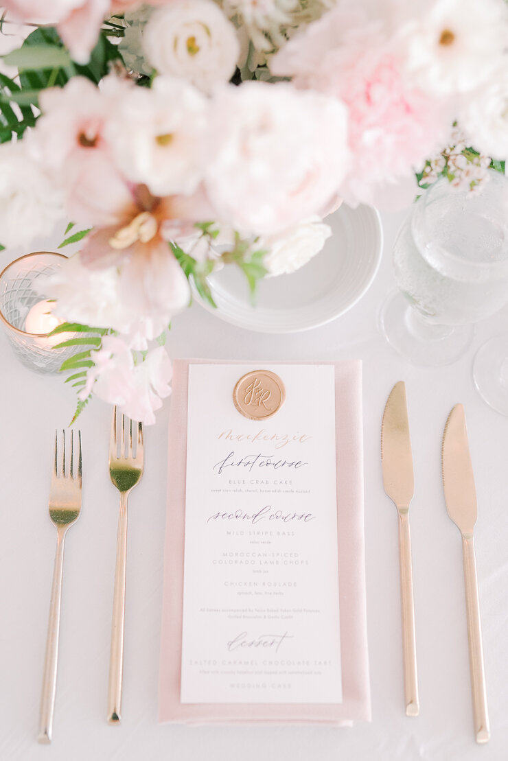 Blush and White Flowers at Reception