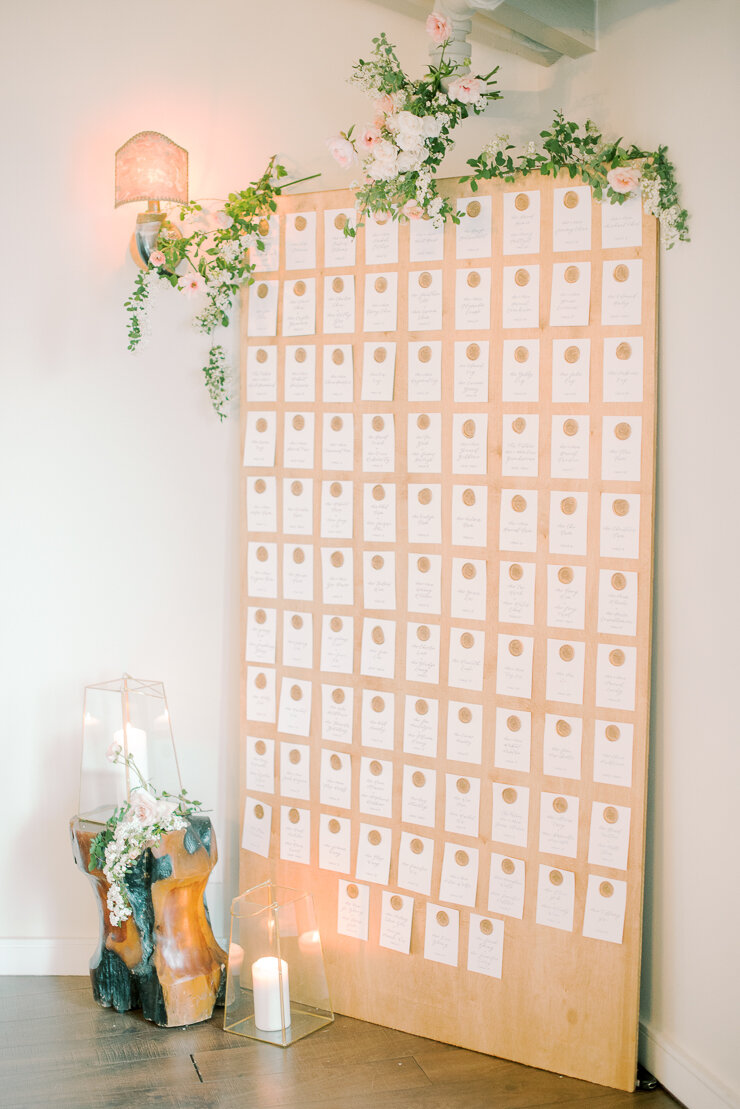 Escort Card Display with Wax Seals