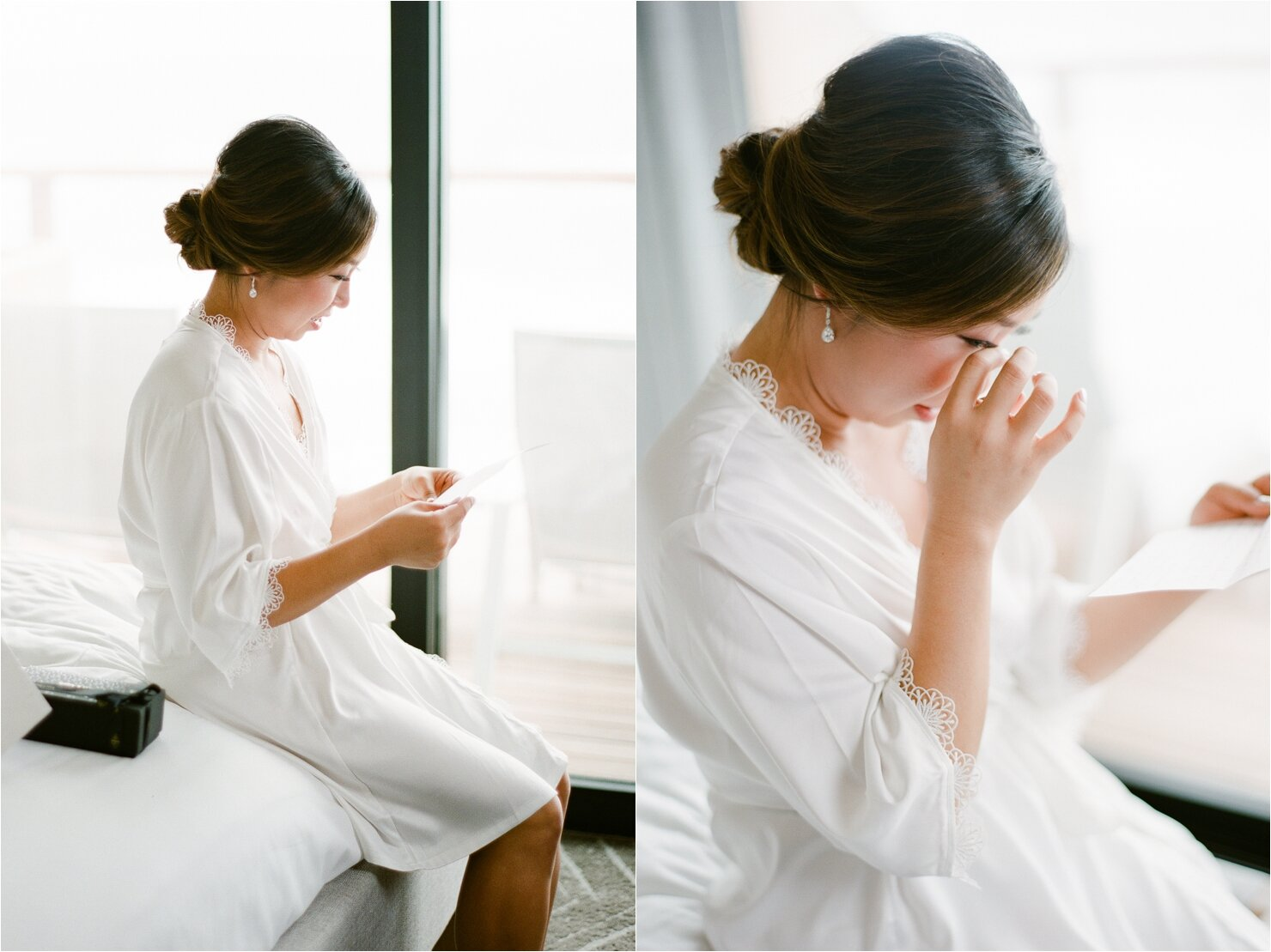 Bride Reading Groom's Note and Opening Wedding Gifts on Wedding Day