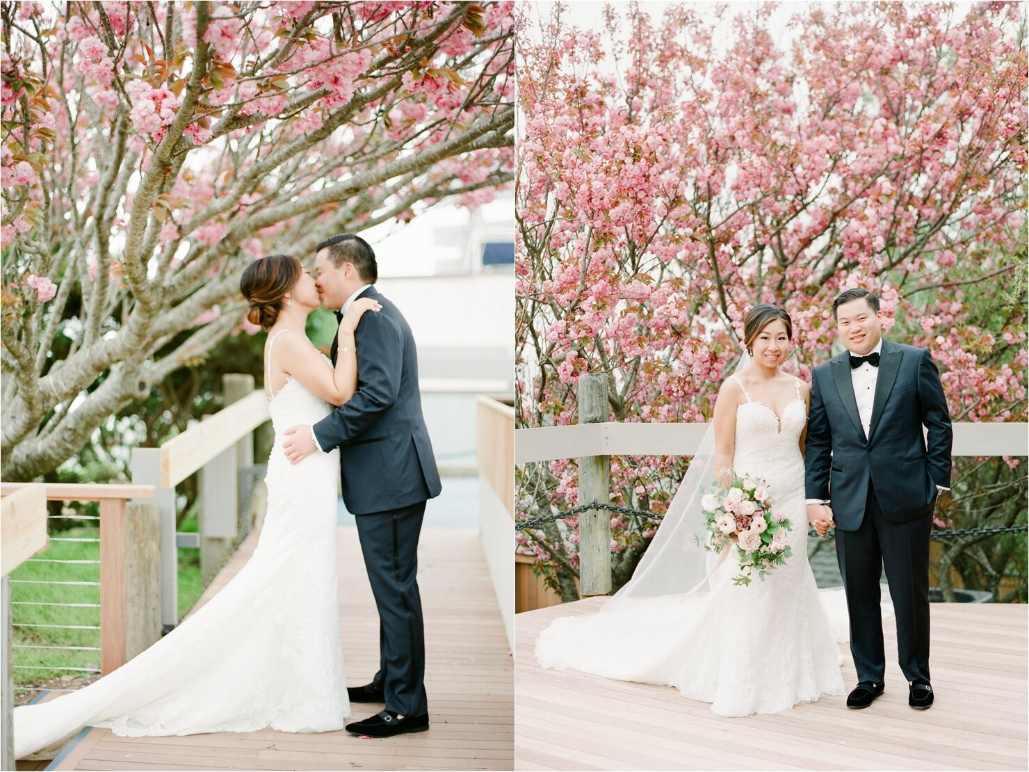 First Look Photo in front of Cherry Blossoms at Gurney's Montauk