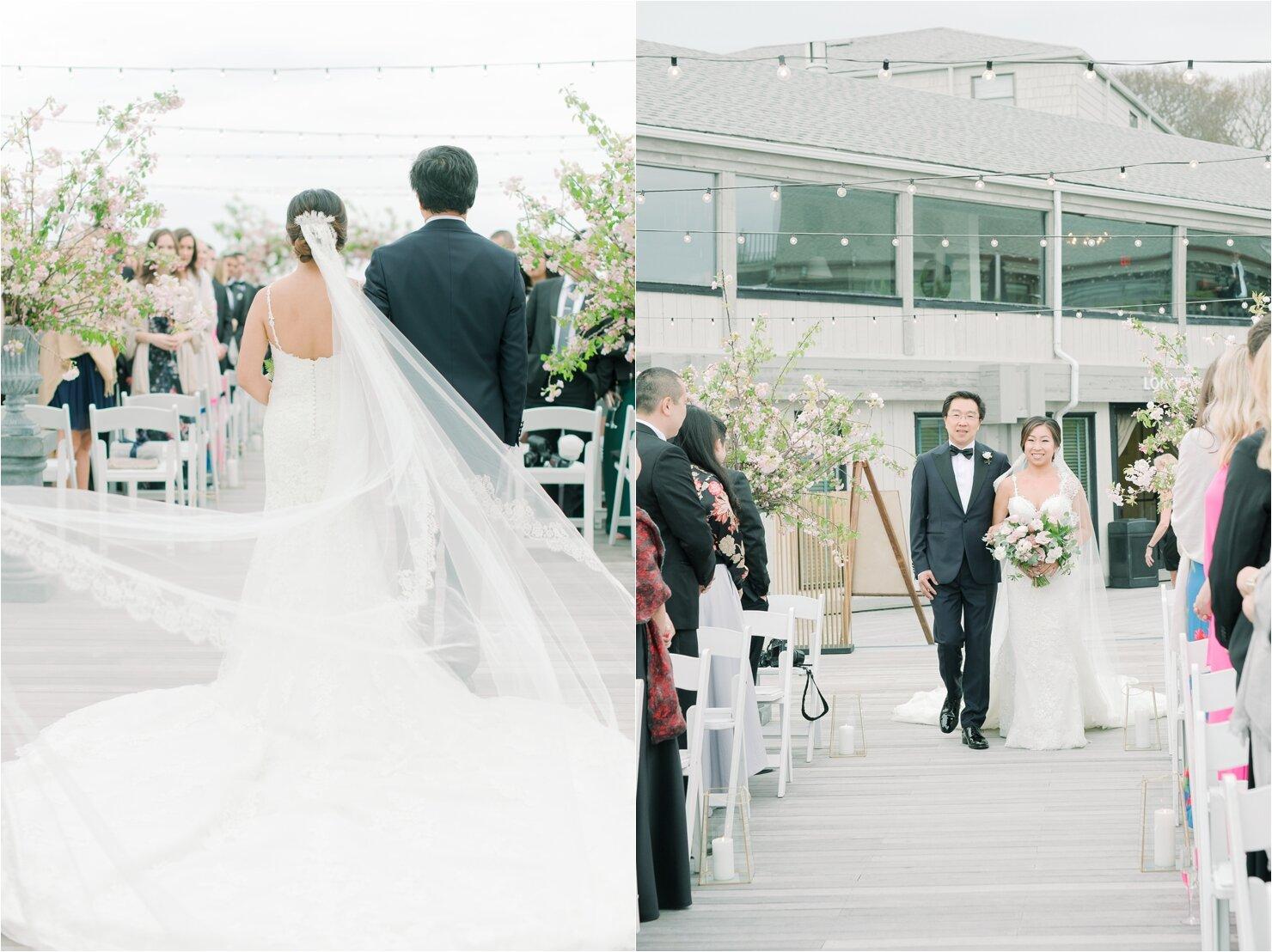 Father walking Bride down Aisle at Gurney's Montauk