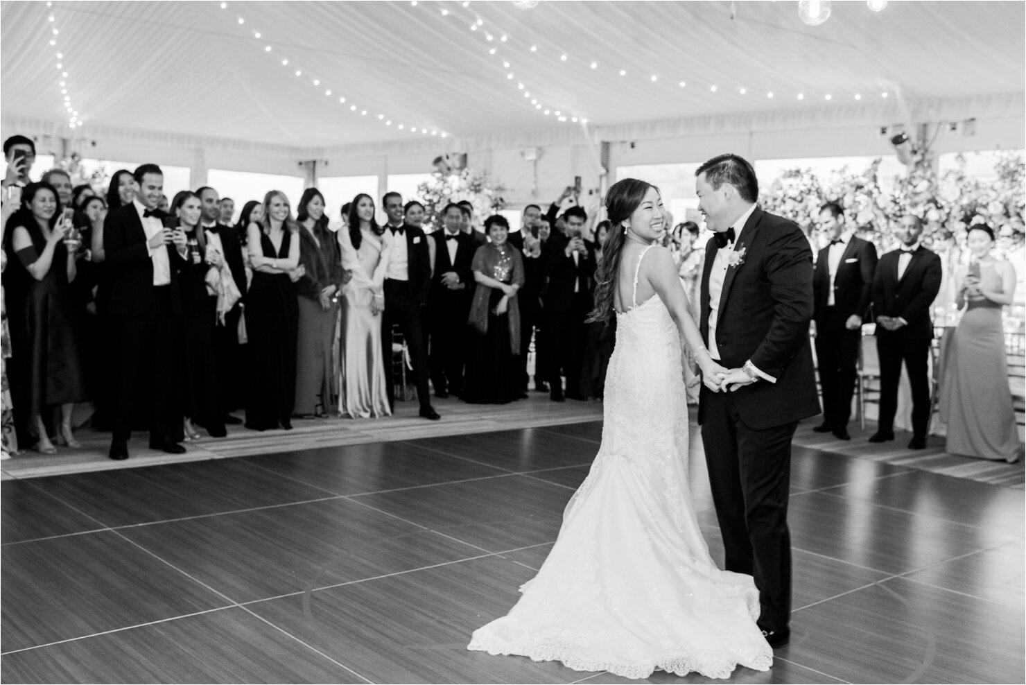 Bride and Groom First Dance in Tented Wedding at Gurney's Montauk