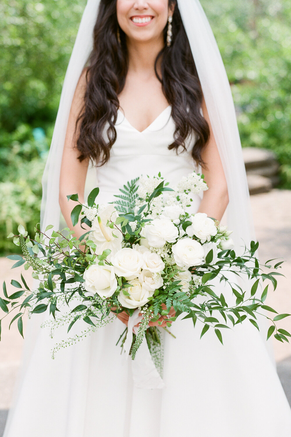 Green and White Wedding Bouquet by Starling