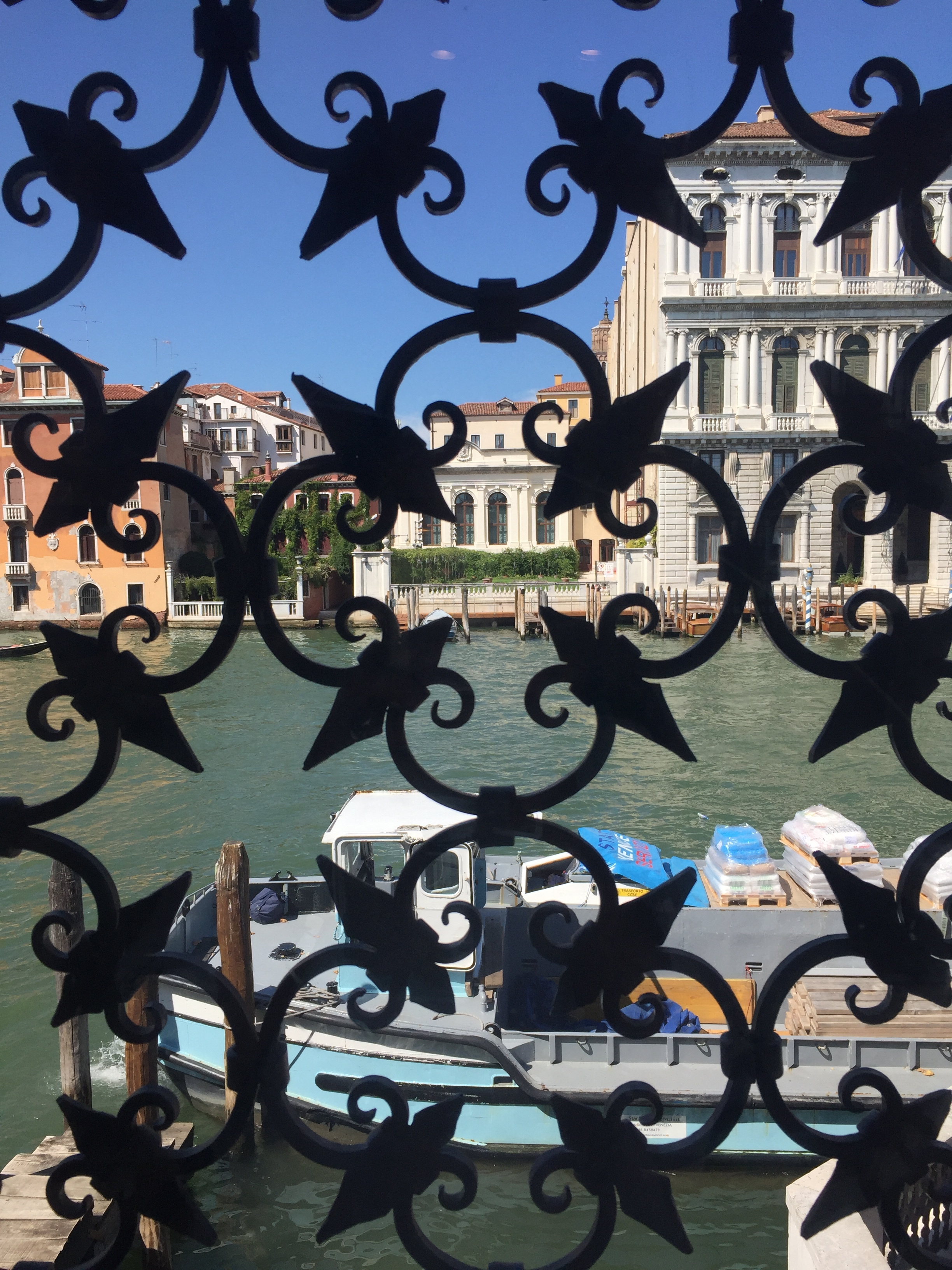 Looking out onto the Grand Canal from the  Guggenheim Foundation