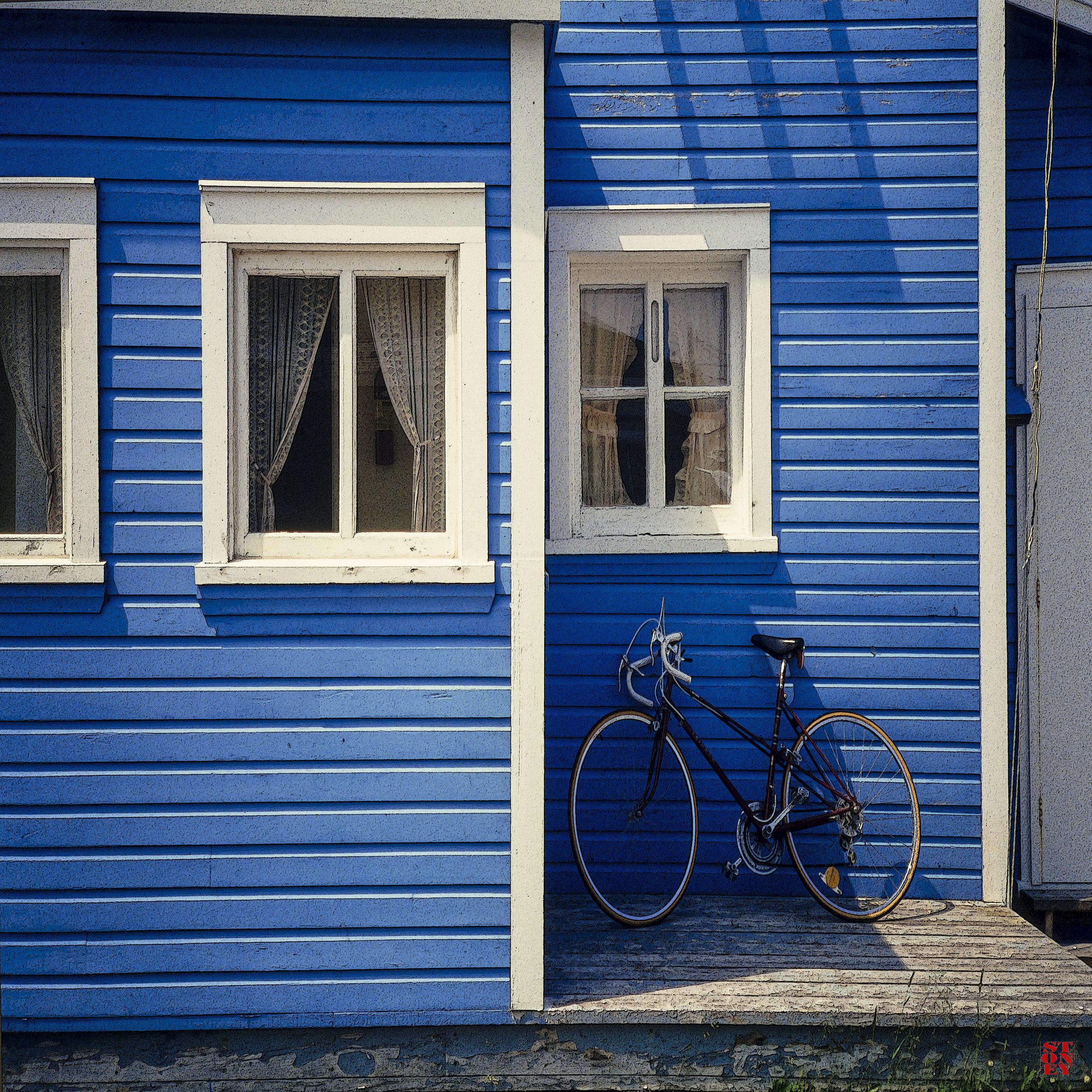 David Stone, Blue Bike, 26x26 on   handmade paper, framed,$850.jpg