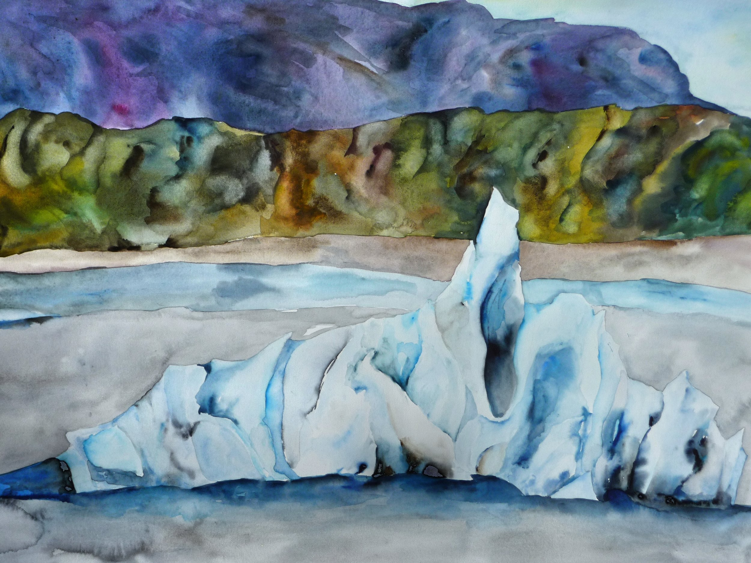 Iceberg in Iceland,watercolor on paper, framed, 22x30, $1150