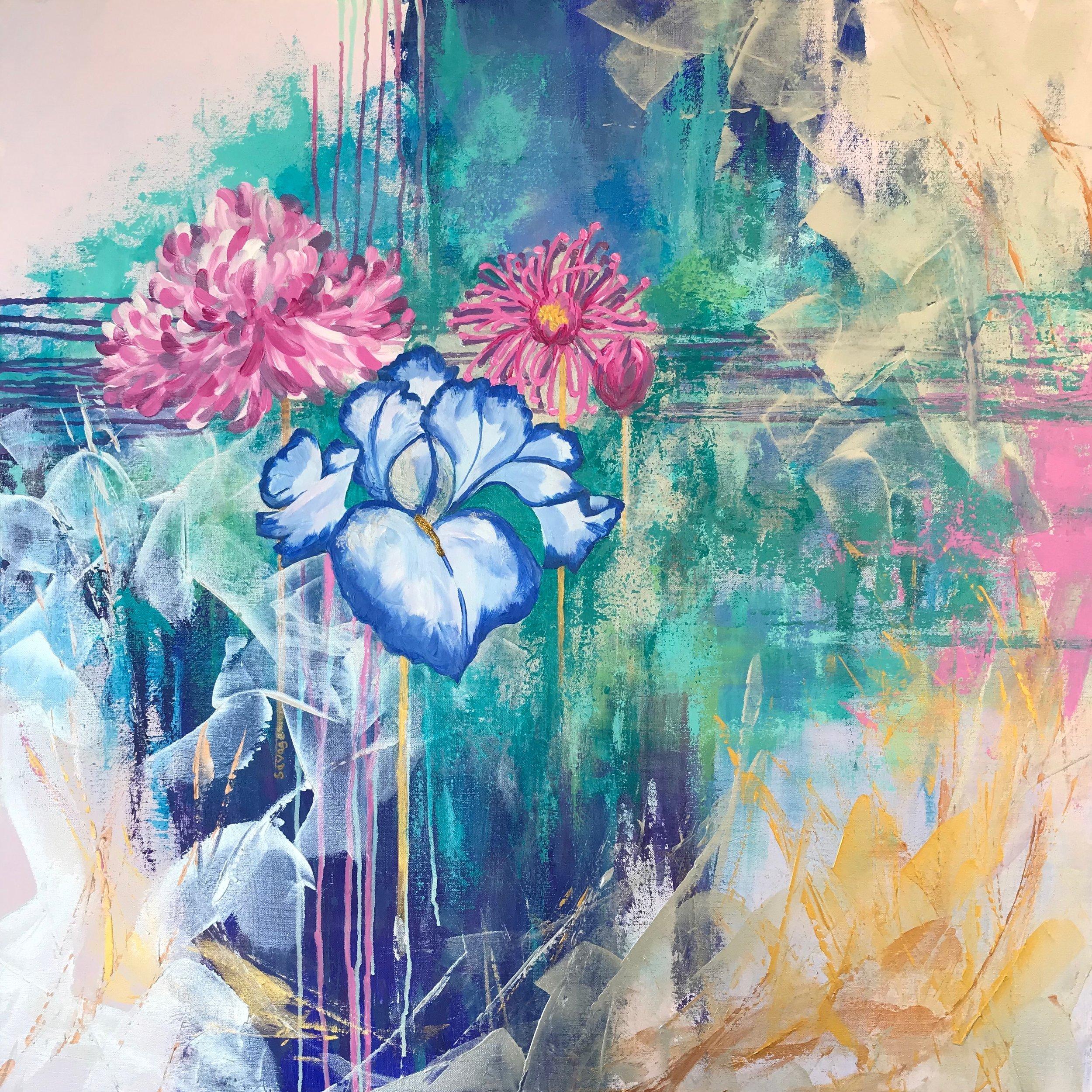 Peony & Iris, 36x36, acrylic on canvas, $2450