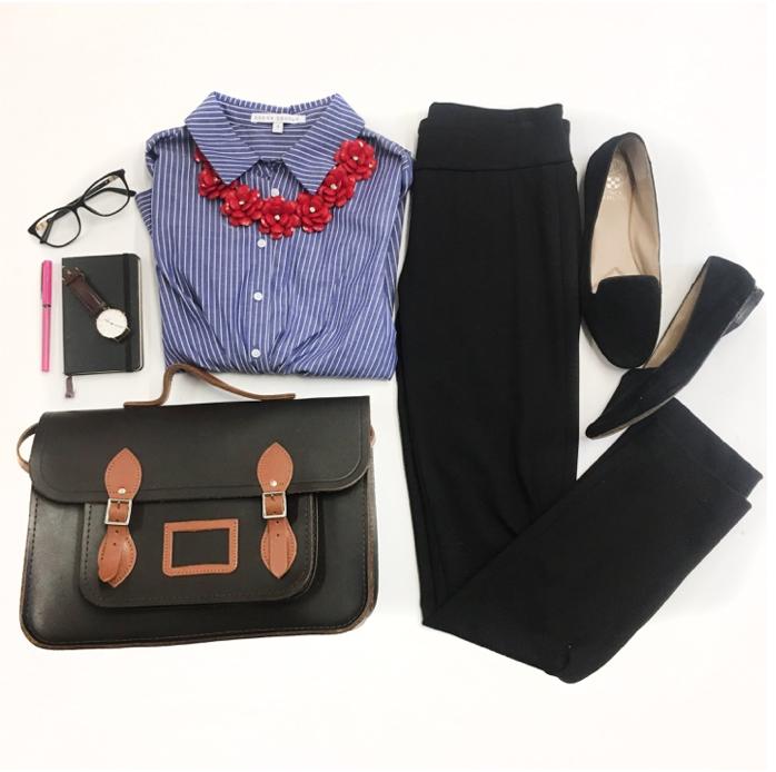 Striped Shirt Flat Lay