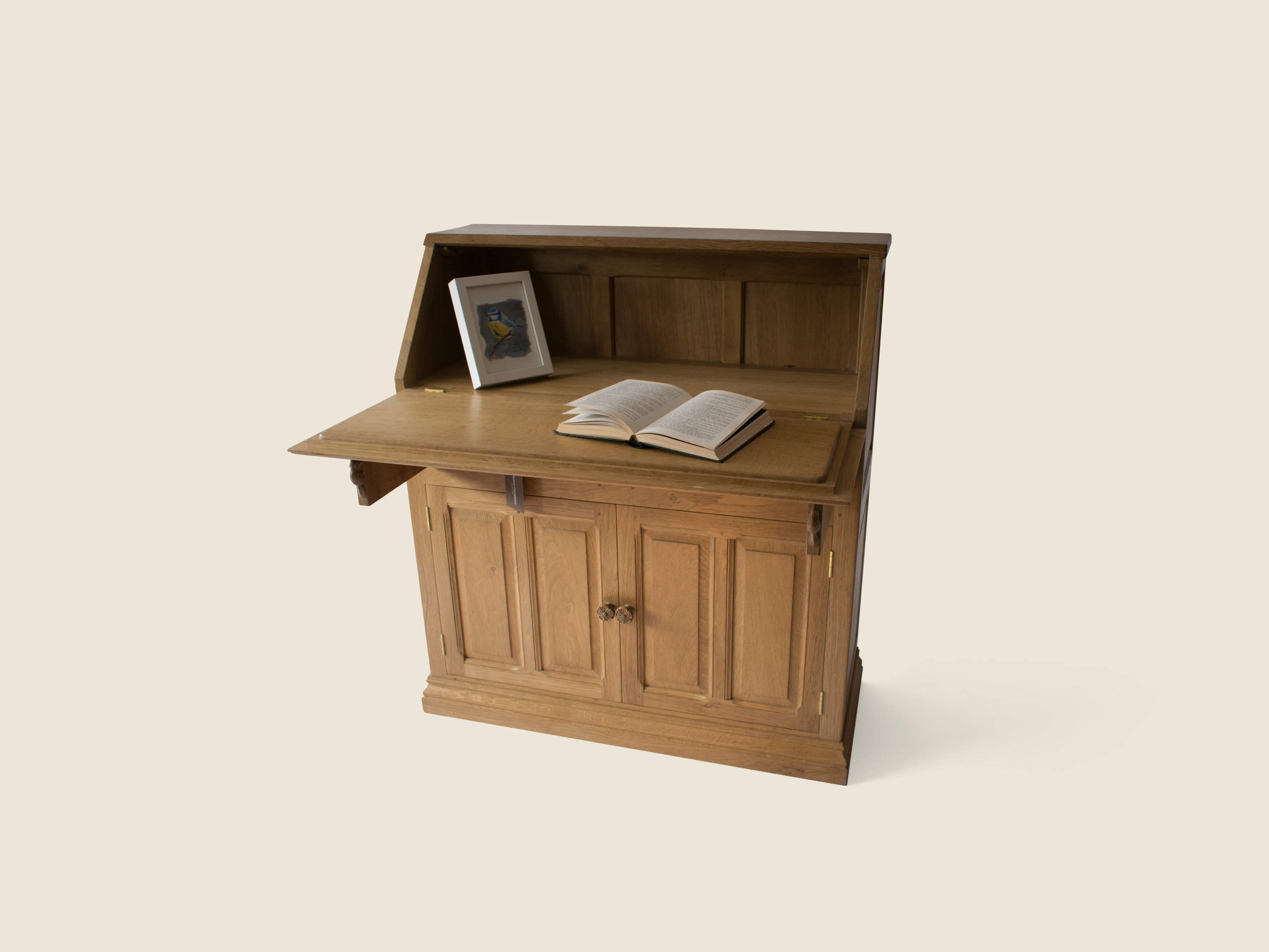 BF904 Oak Bureau with Sloping Front