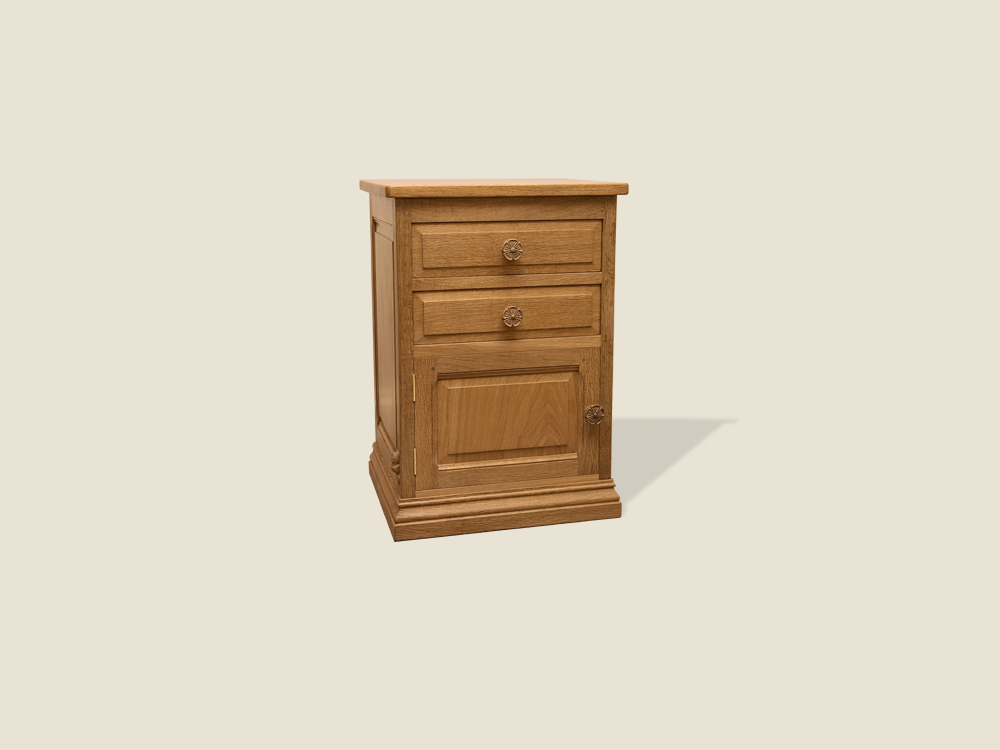 BF712 Oak 2 Drawer Bedside Cabinet