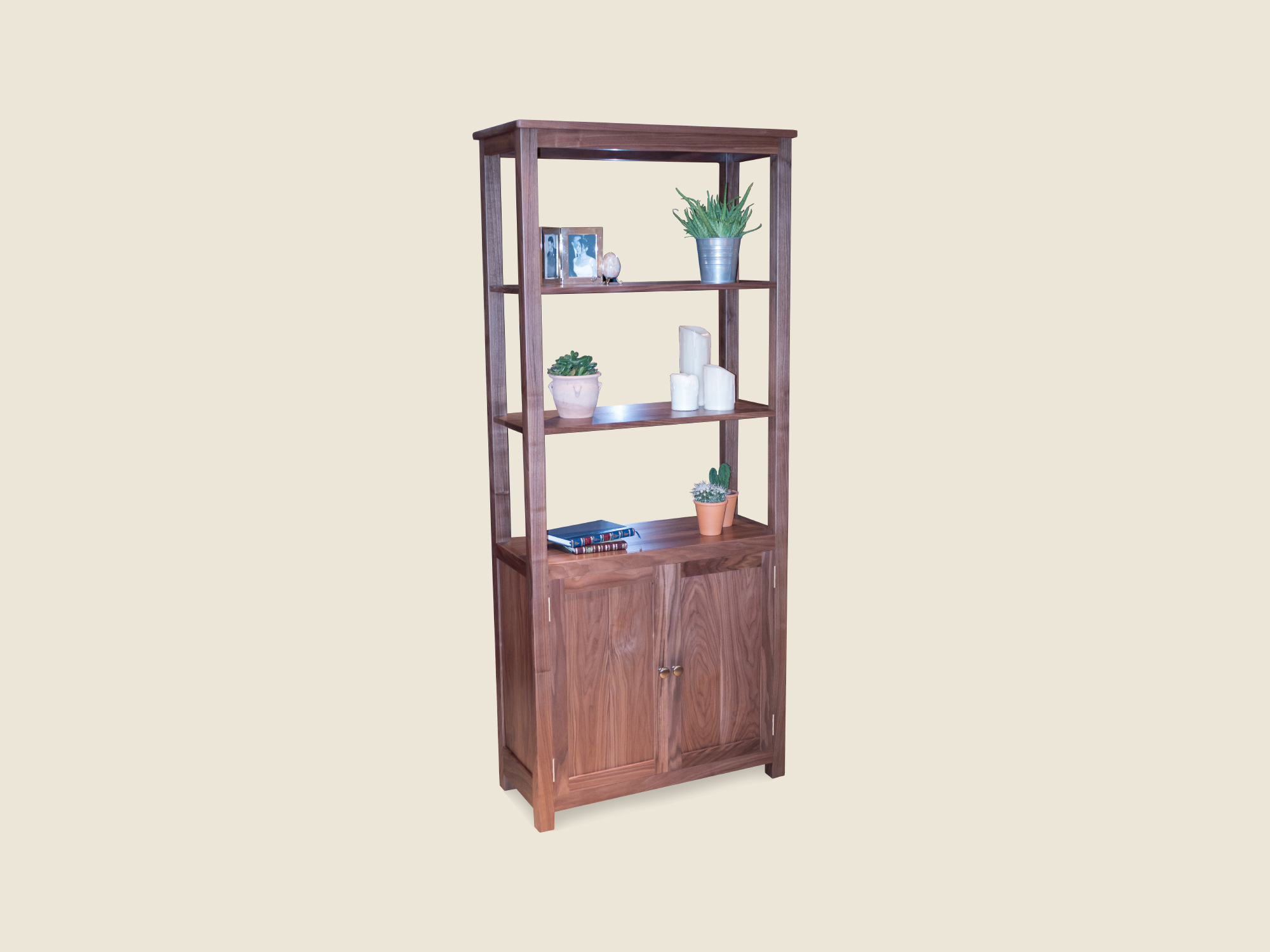 BF611 Walnut Cabinet with open book shelves