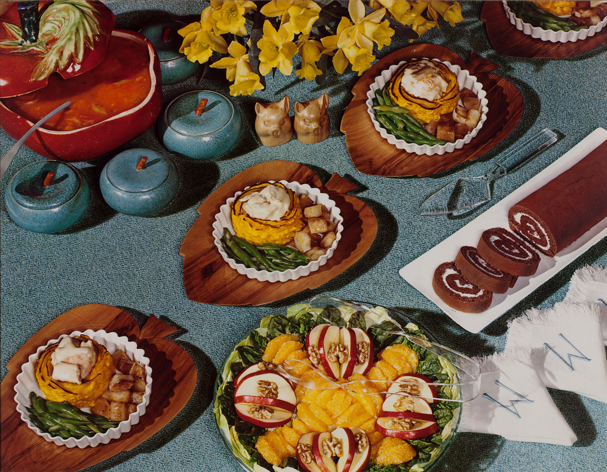 Nickolas Muray, Food Spread, Daffodils, McCall's magazine, ca. 1946; from Feast for the Eyes (Aperture, 2017) © Nickolas Muray Photo Archives, Courtesy George Eastman Museum, gift of Mrs. Nickolas Muray