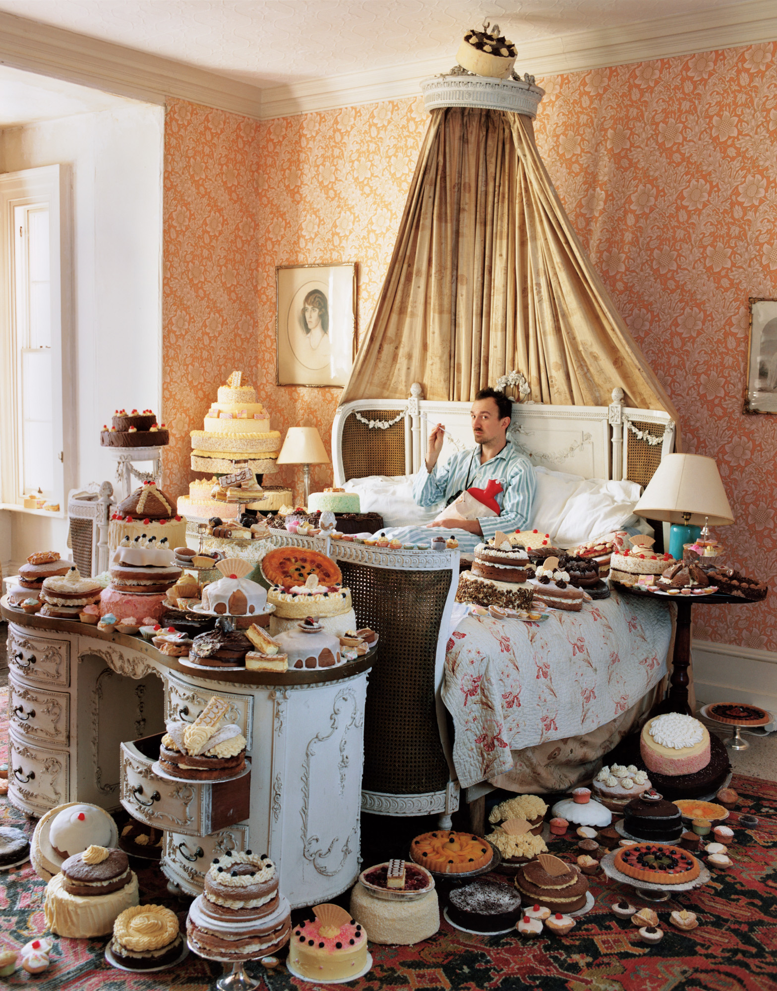 Tim Walker, Self-Portrait with Eighty Cakes, 2008; from Feast for the Eyes (Aperture, 2017) © Tim Walker