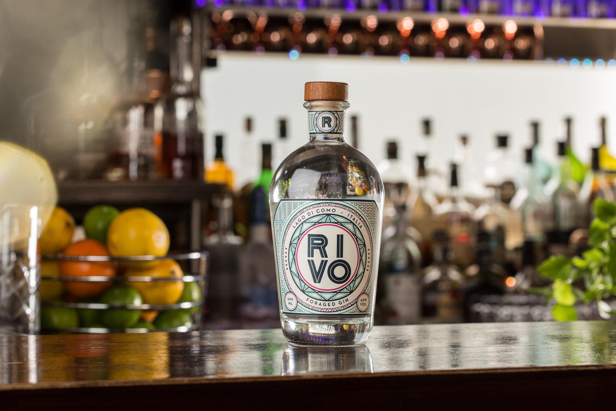 la bottiglia di gin rivo