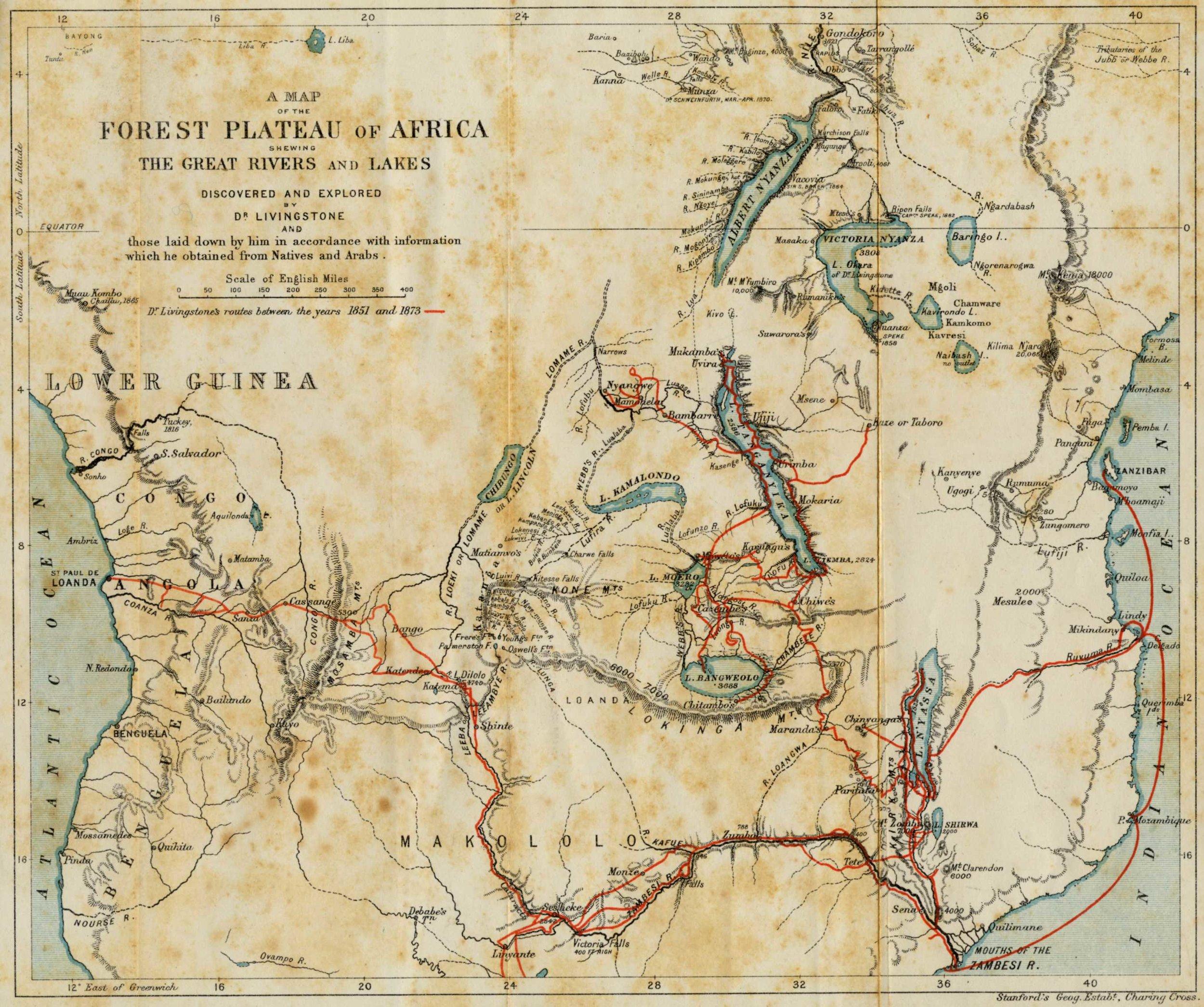 I viaggi di Livingstone in Africa tra il 1851 e il 1873.