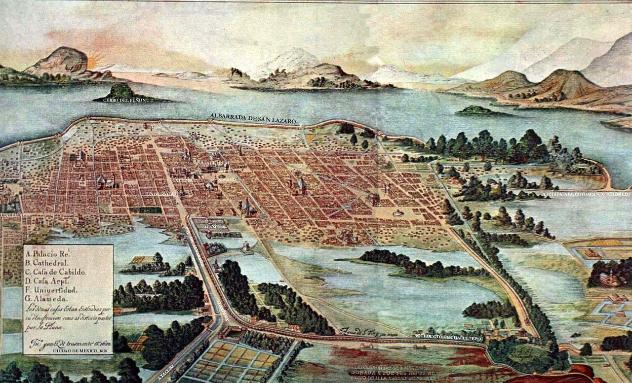 Città del Messico al tempo della visita di Hasekura in un dipinto del 1628 di Juan Gómez de Trasmonte.
