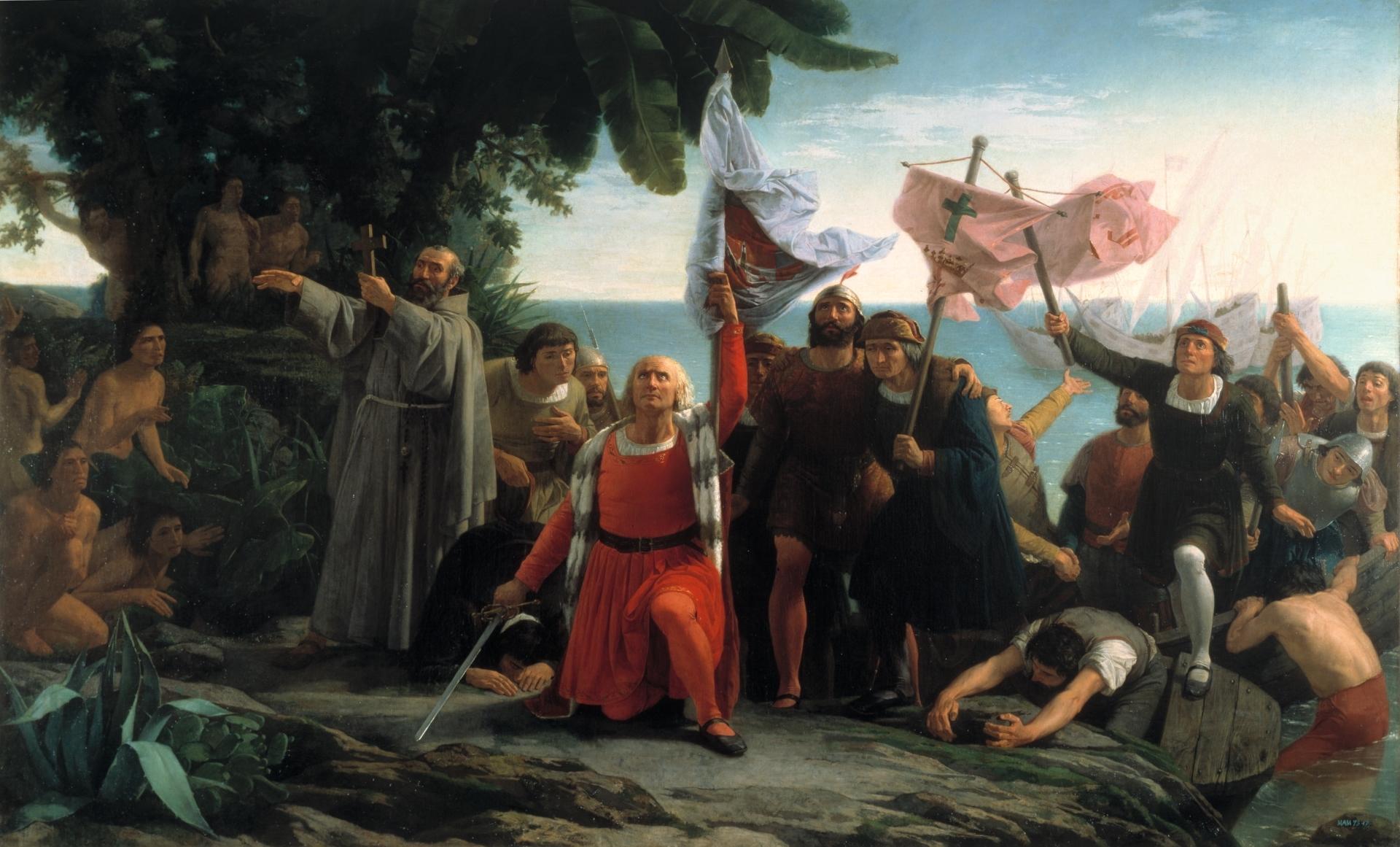 Colombo sbarcato nel Nuovo Mondo. Dióscoro Puebla, 1862, collezione del Museo del Prado.