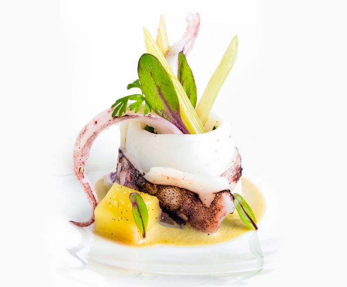 Calamaro cotto dolcemente con salsa di ostriche e acciughe