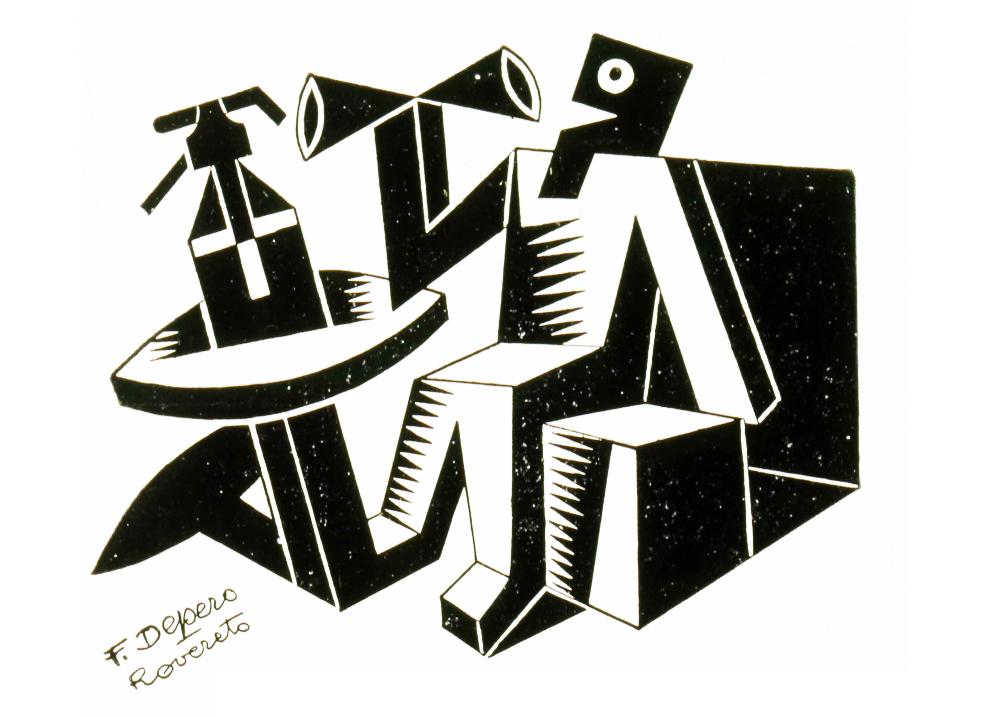 L'aperitivo, in una stampa del futurista Fortunato DEpero.
