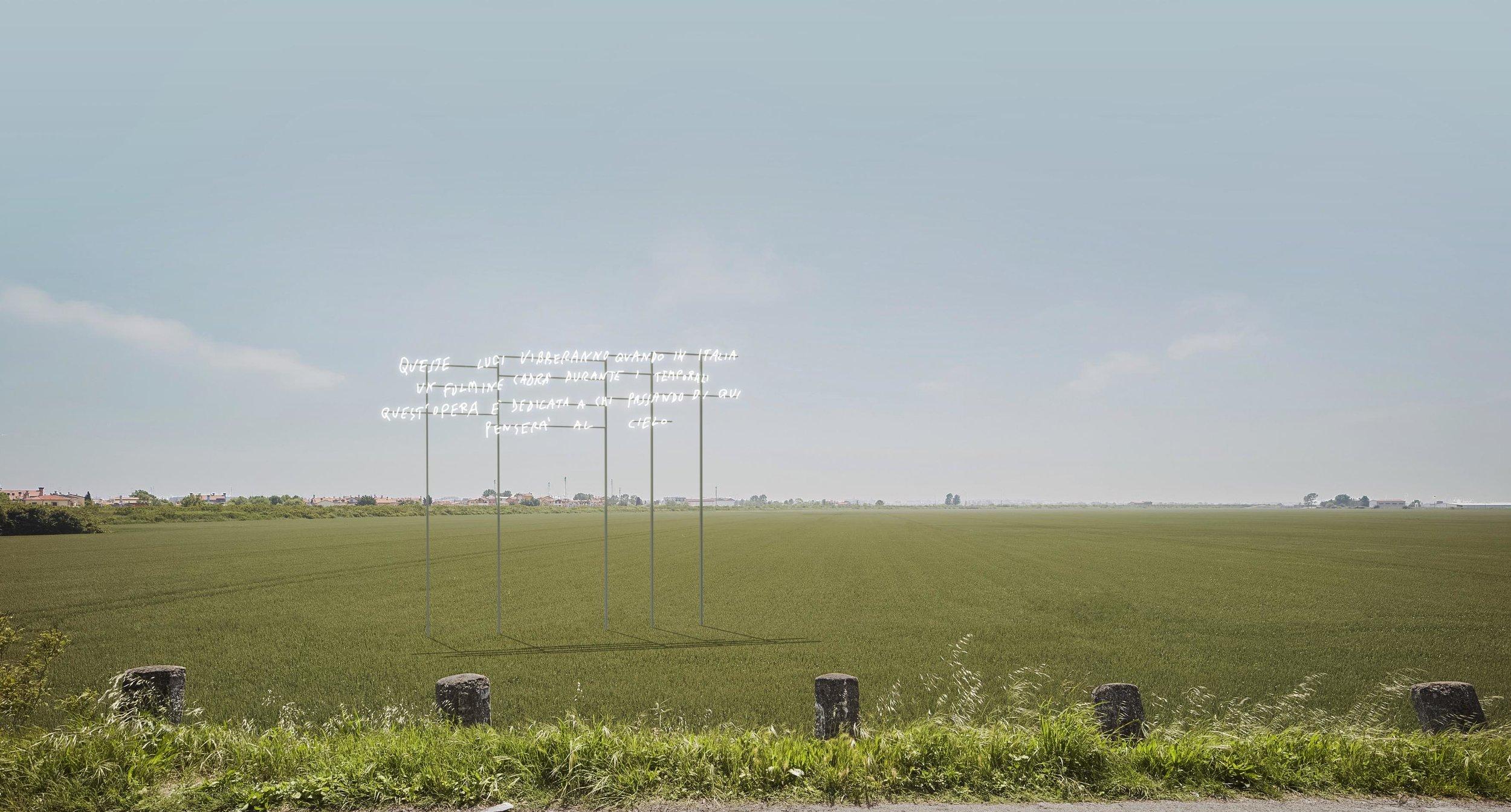 Alberto Garutti, Queste luci vibreranno quando in Italia un fulmine cadrà durante i temporali. Quest'opera è dedicata a chi passando di qui penserà al cielo, 2017