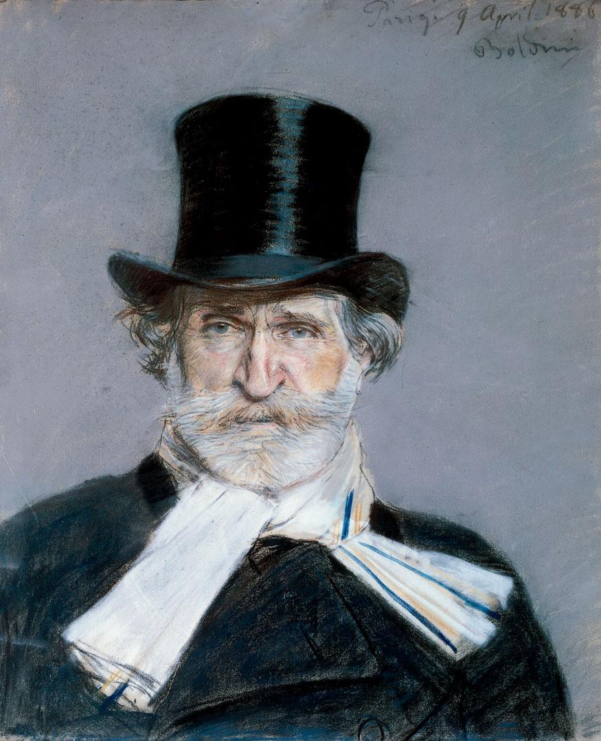 Giuseppe Verdi ritratto da Giovanni Boldini a pastello nel 1886.