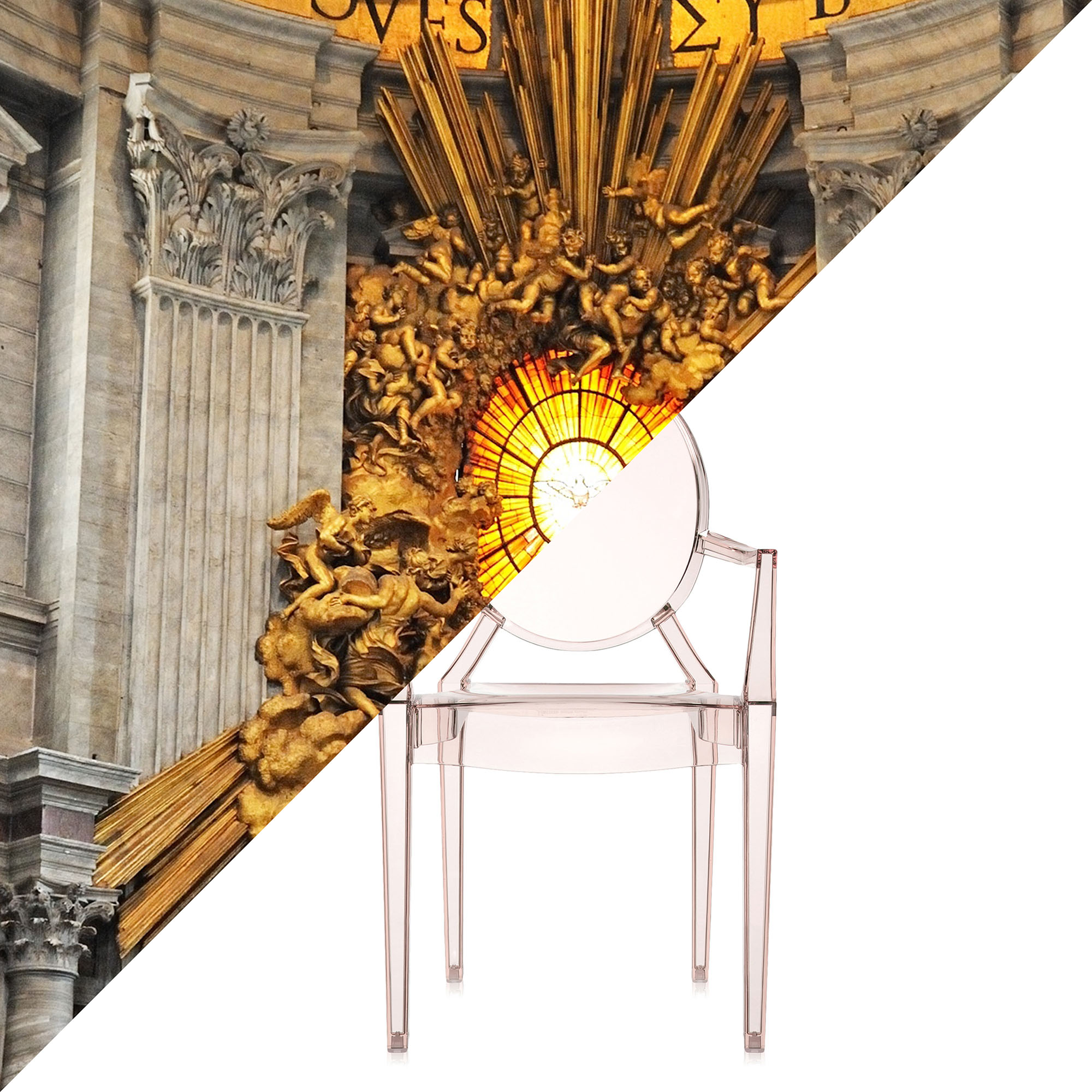 CONFÓRMI Kartell, Gian Lorenzo Bernini, Throne of Saint Peter, St. Peter's Basilica | Vatican City, 1647-1653 VS Philippe Starck, Louis Ghost