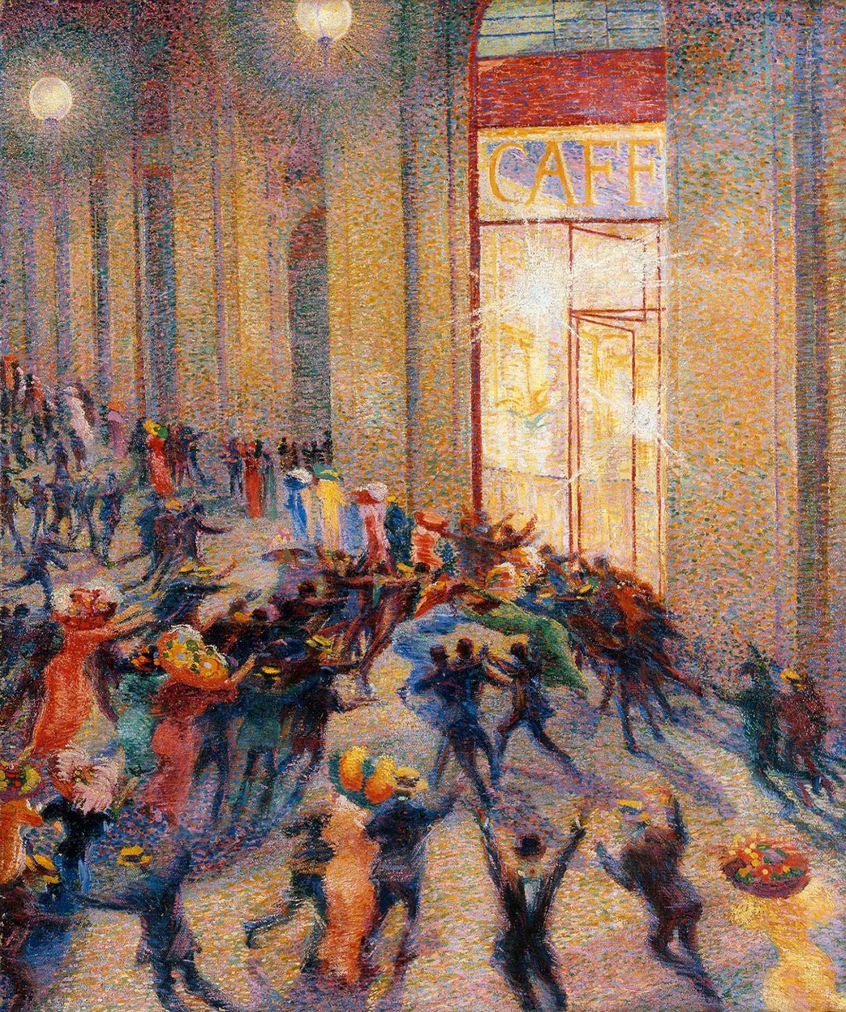 Umberto Boccioni, Rissa in Galleria (Vittorio Emanuele a Milano, ndr) del 1910 custodito alla Pinacoteca di Brera.