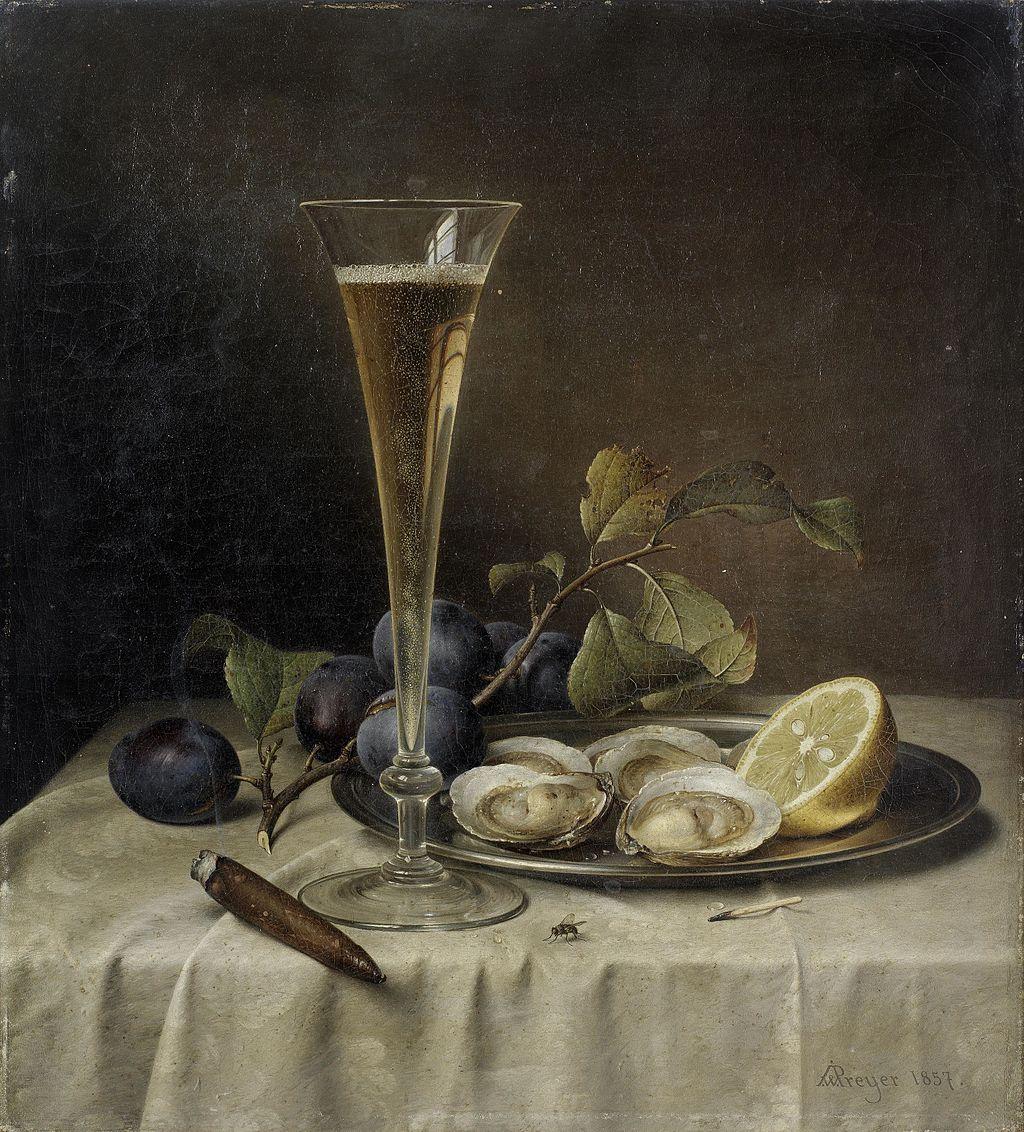 Natura morta con champagne e ostriche  è stato dipinto nel 1857 da Johann Wilhelm Preyer, illustre esponente della Scuola di pittura di Düsseldorf, uno dei pochi a specializzarsi nelle nature morte.