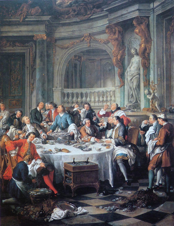 Nel 1735, Jean-François de Troy, pittore alla corte di Luigi XV, riceve un incarico dal re: dipingere un pranzo borghese dell'epoca, durante il quale gli ospiti si nutrono con entusiasmo di ostriche. Ma l'interesse principale di quest'opera, esposta al Museo di Chantilly, deriva dal fatto che si tratta della prima rappresentazione dello Champagne nella storia dell'arte.