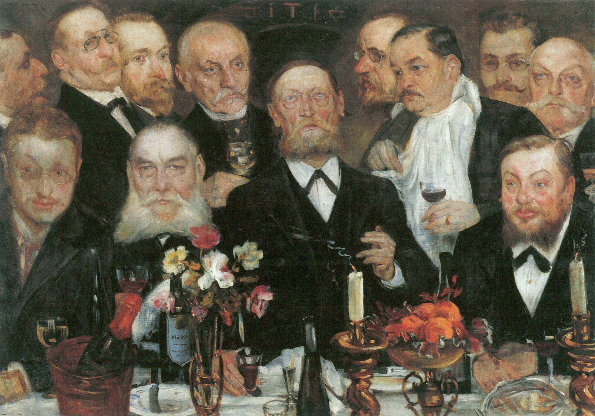 """Nel corso della sua carriera, a Lovis Corinth, artista e scrittore tedesco il cui lavoro di pittore e incisore ha realizzato una sintesi di impressionismo ed espressionismo, furono commissionati alcuni ritratti di gruppo, tra cui """"Die Logenbrüder"""" nel 1898-99 (I fratelli della Loggia). Il modello è ispirato ai ritratti di gruppo più piccoli di Rembrandt, in questo caso però si beve Champagne."""