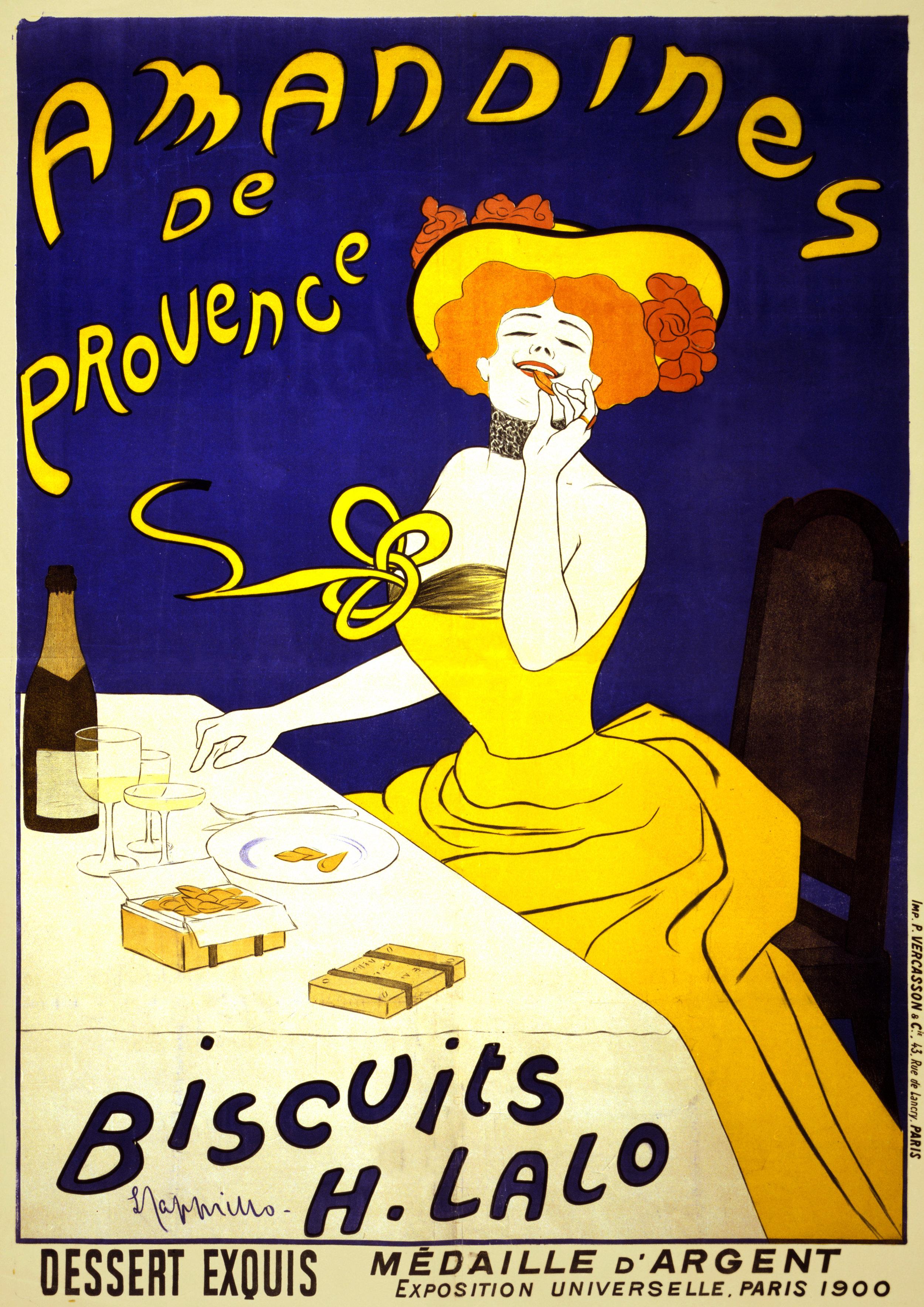 Amandines de Provence. Biscotti H. Lalo. Dessert exquis, medaglia di argento, Esposizione Universale, Parigi 1900. Il poster ritrae una donna che mangia biscotti alle mandorle.