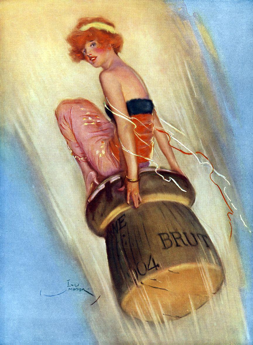 Grape-Shot: 1915 illustrazione di una signora in sella ad un tappo di champagne.