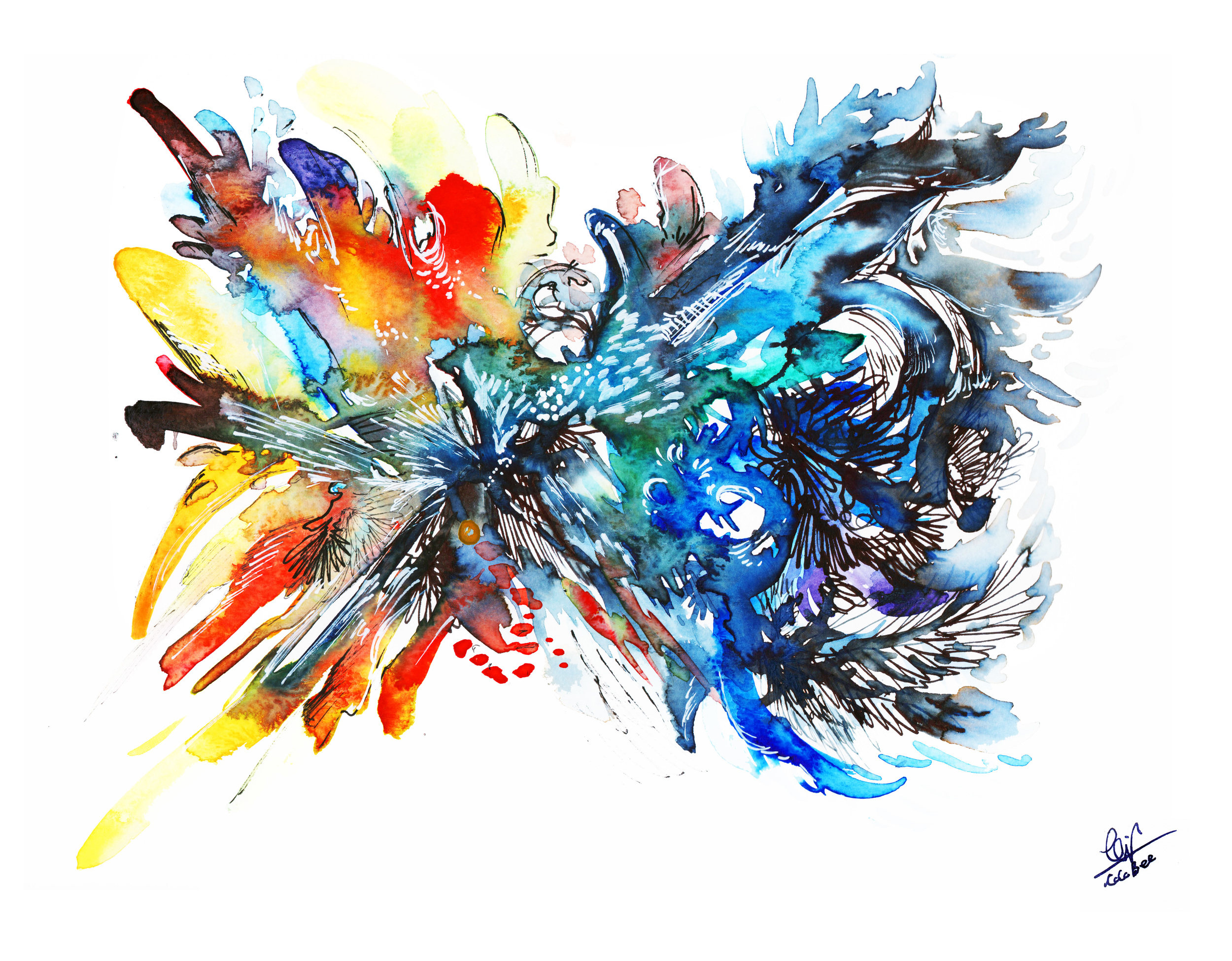 Calypso ( Watercolor & Inks, 2016)  for Aga Khan Foundation Canada, Together Art Contest