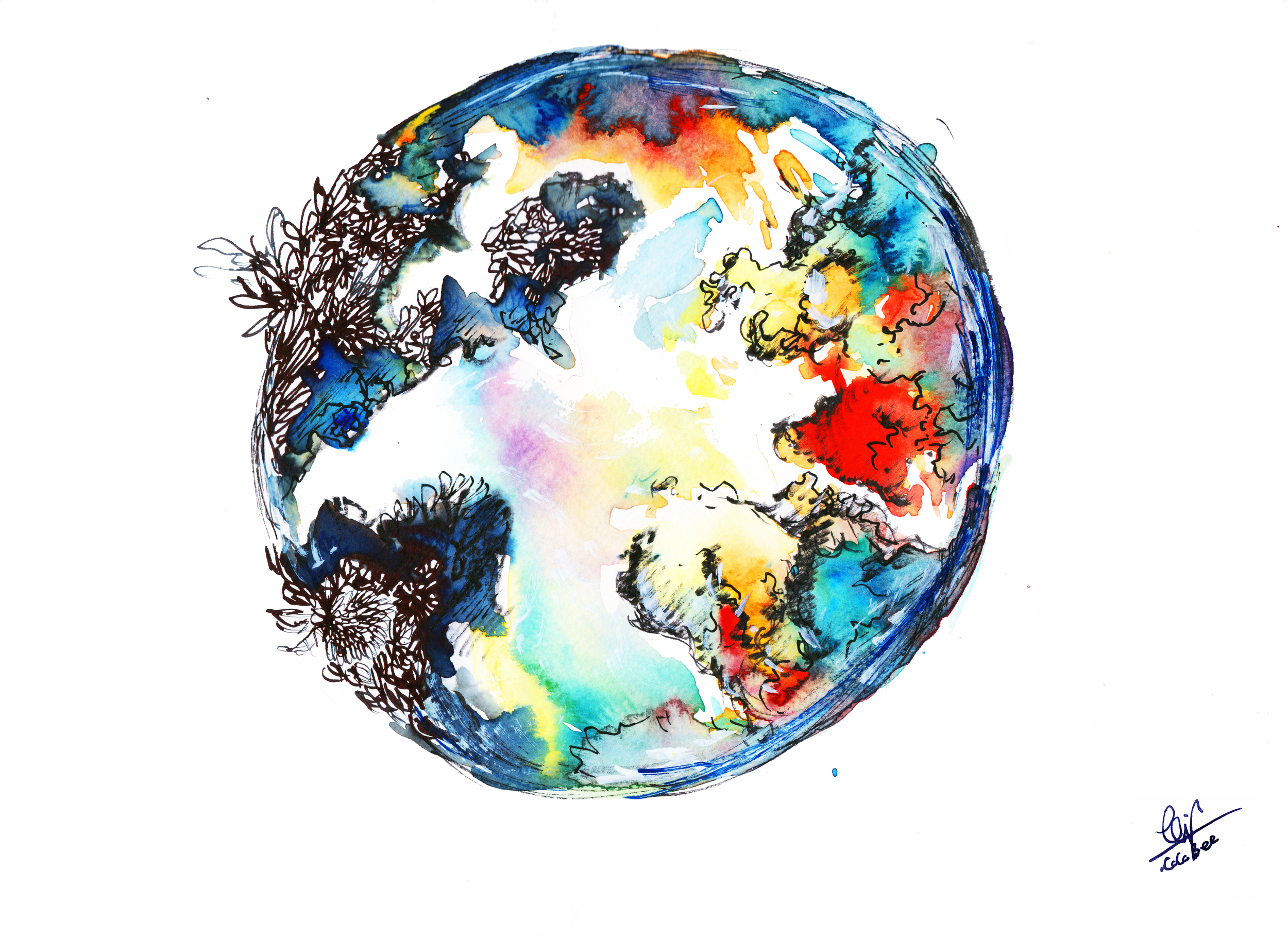 Healing Earth (Watercolor & Ink,February 2016)  for PROCURE ART