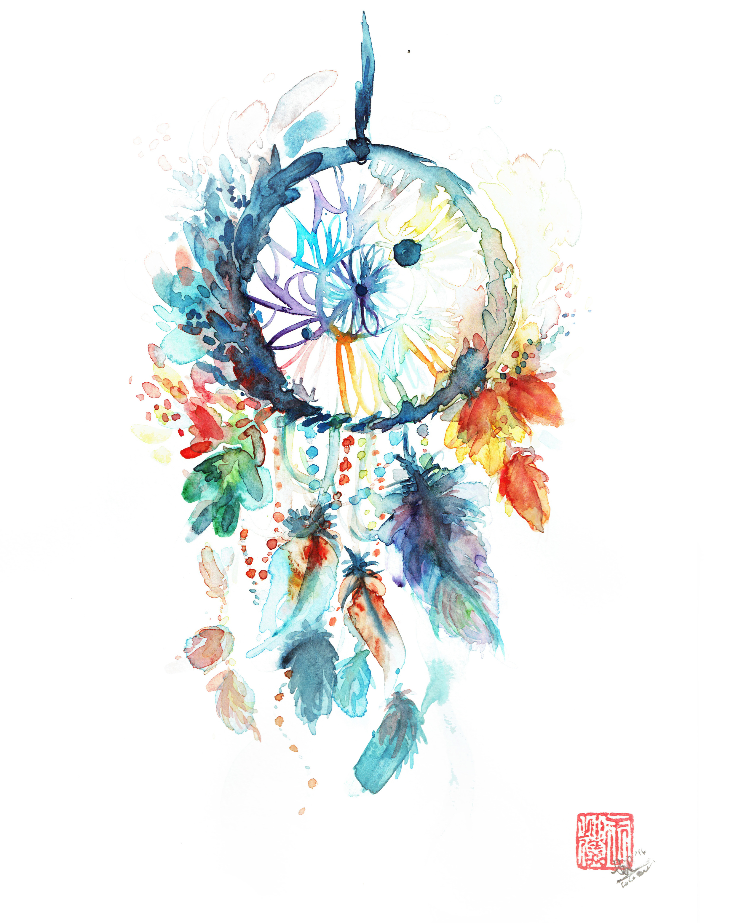 Dreamcatcher, Watercolor on Cold Press 140lbs ( February, 2016)