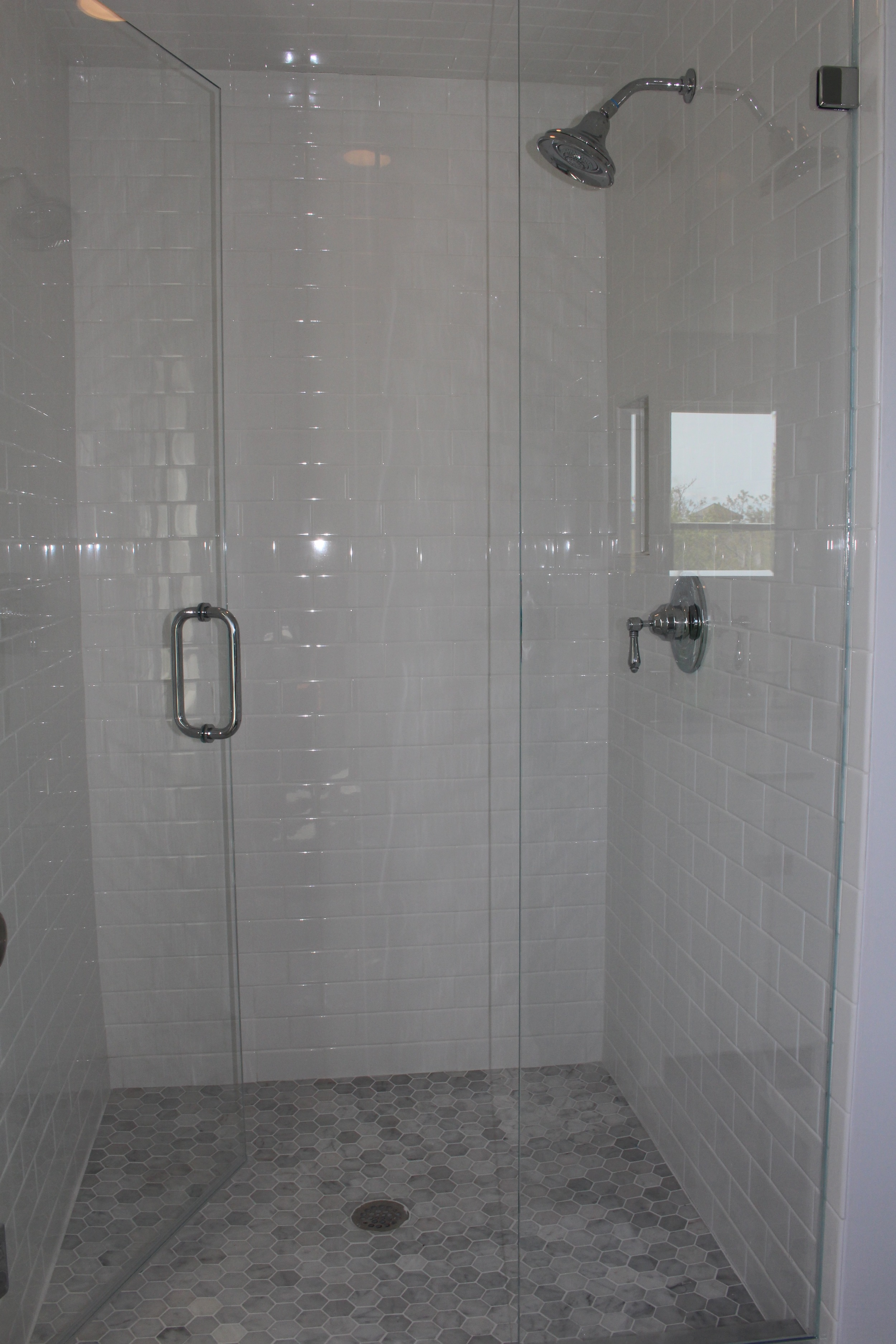 New tiled shower.