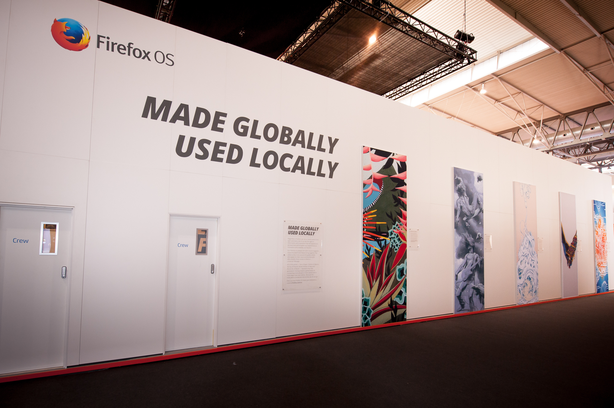 "Artists from five FxOS launch countries expressed ""Unleashed"" in an on-stand gallery."