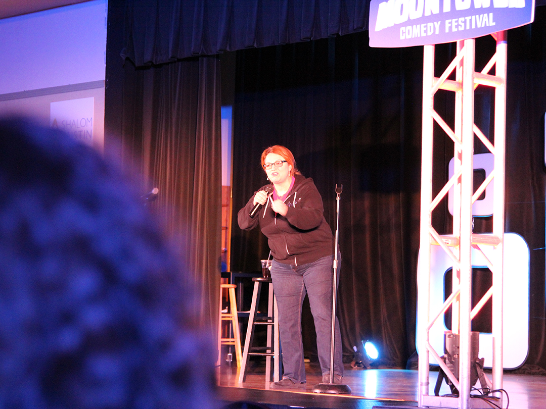 Audience laughs and cheers for Jackie Kashian at Moontower at the J on April 19. Credit: Wendy Goodman
