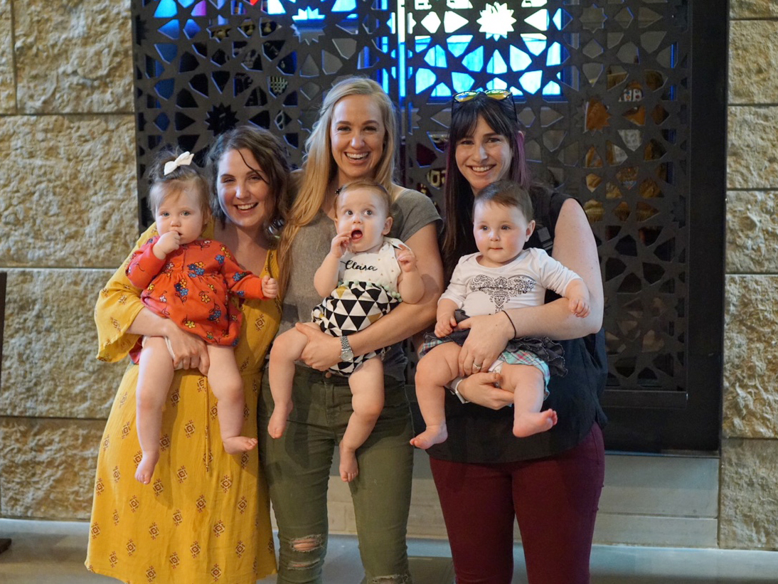 L to R: Jessica Henderson with baby Ilo, Mary Axelrud with baby Clara, Karin Lester with baby Millie. Credit: Gabe Axelrud